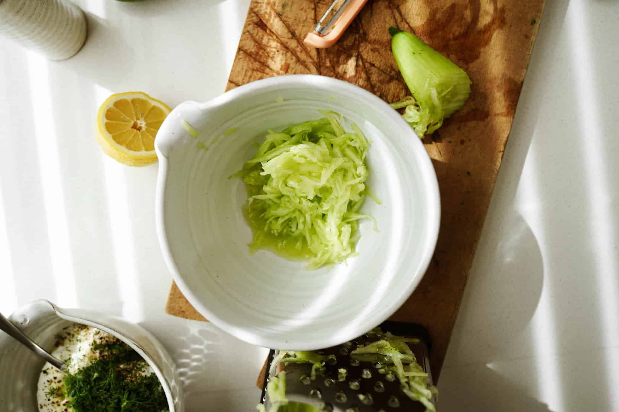 Fresh cucumber in a bowl for Greek Tzatziki  Recipe
