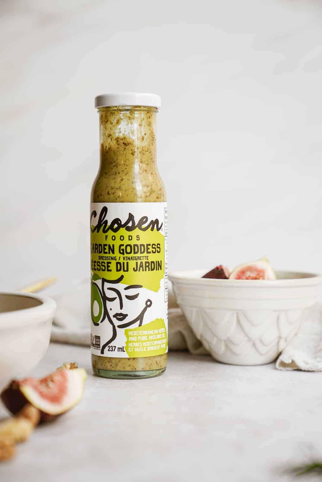 Chosen Foods Garden Goddess Dressing on countertop.