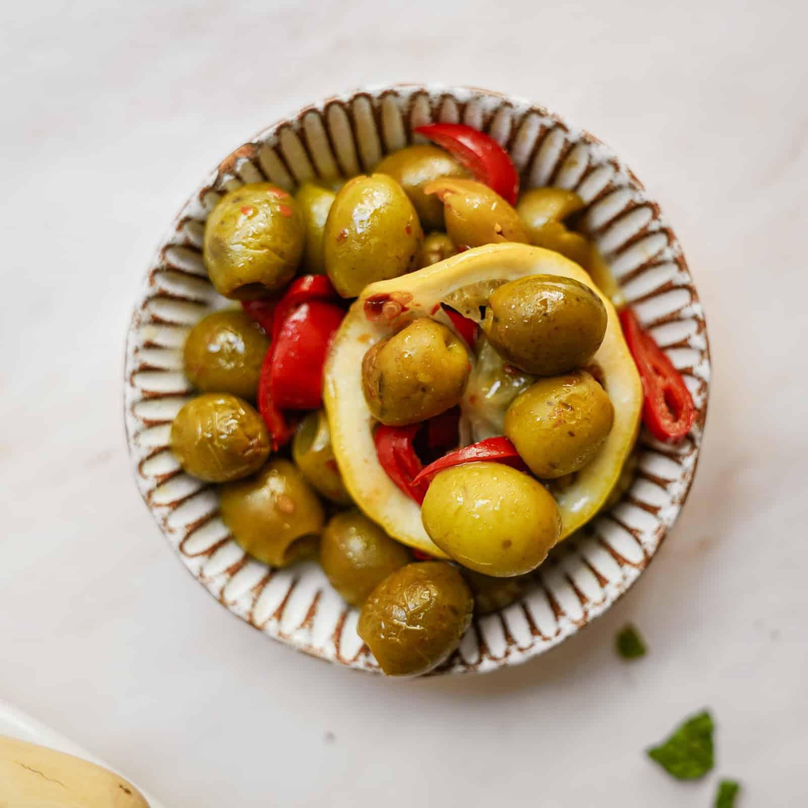 Bowl of fresh green olives
