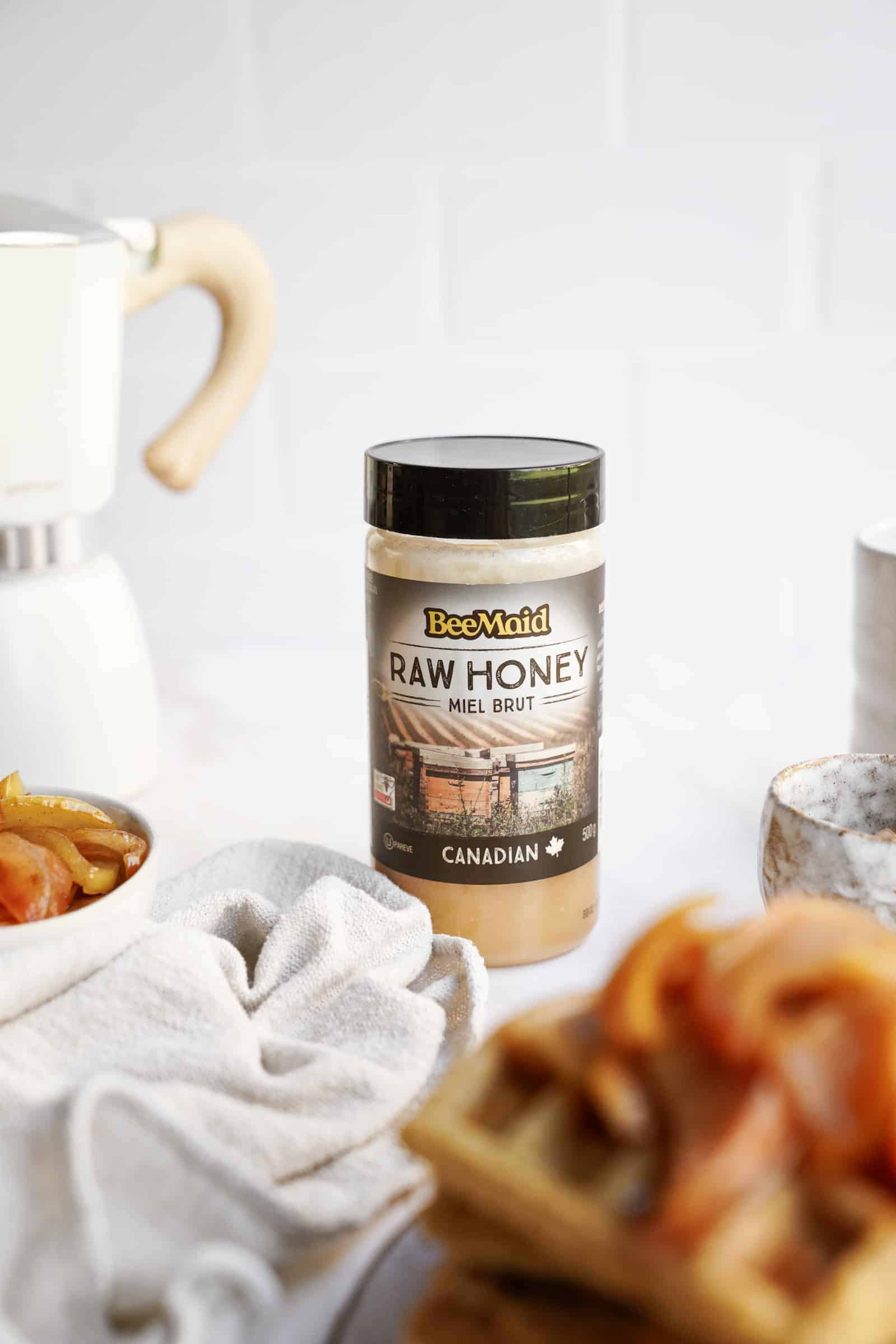 Bee Maid Honey on a countertop