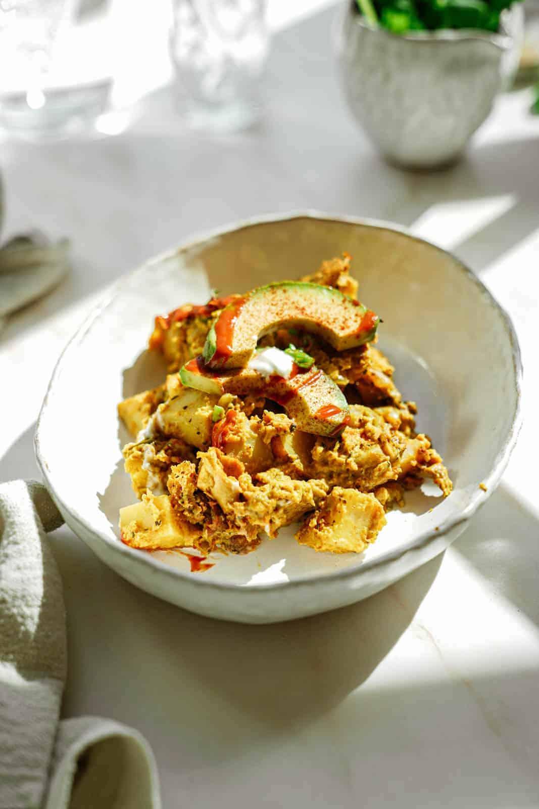 Vegan breakfast casserole in a bowl