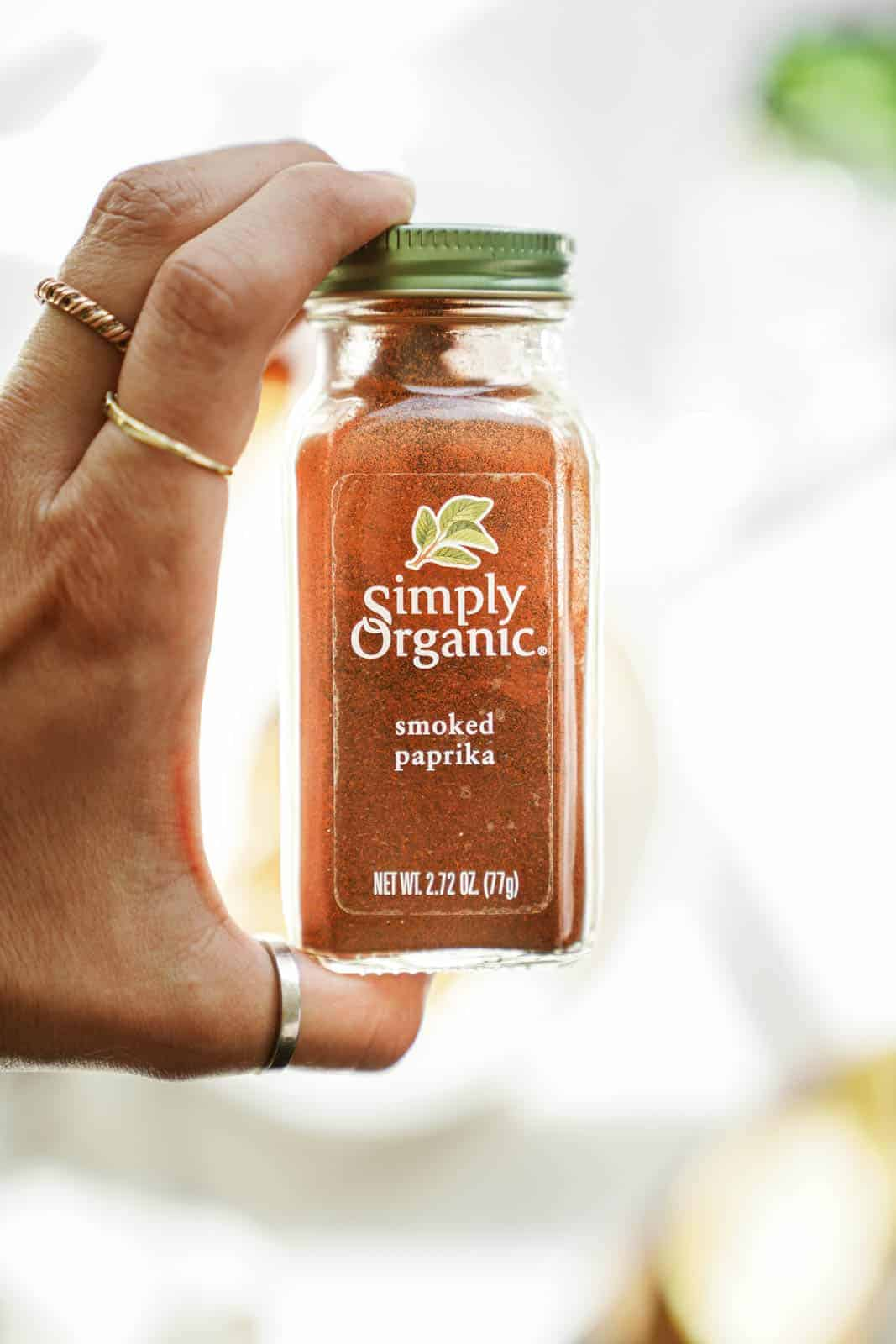 Simply Organic Smoked Paprika in a hand