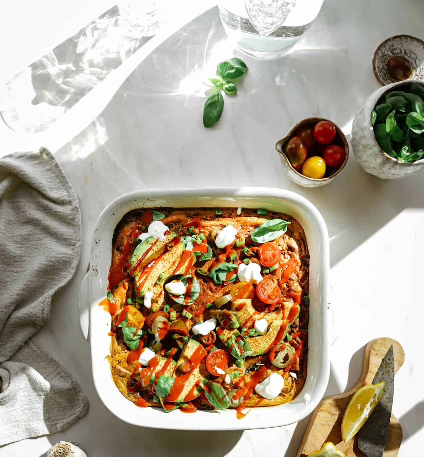 Vegan breakfast casserole in a casserole dish