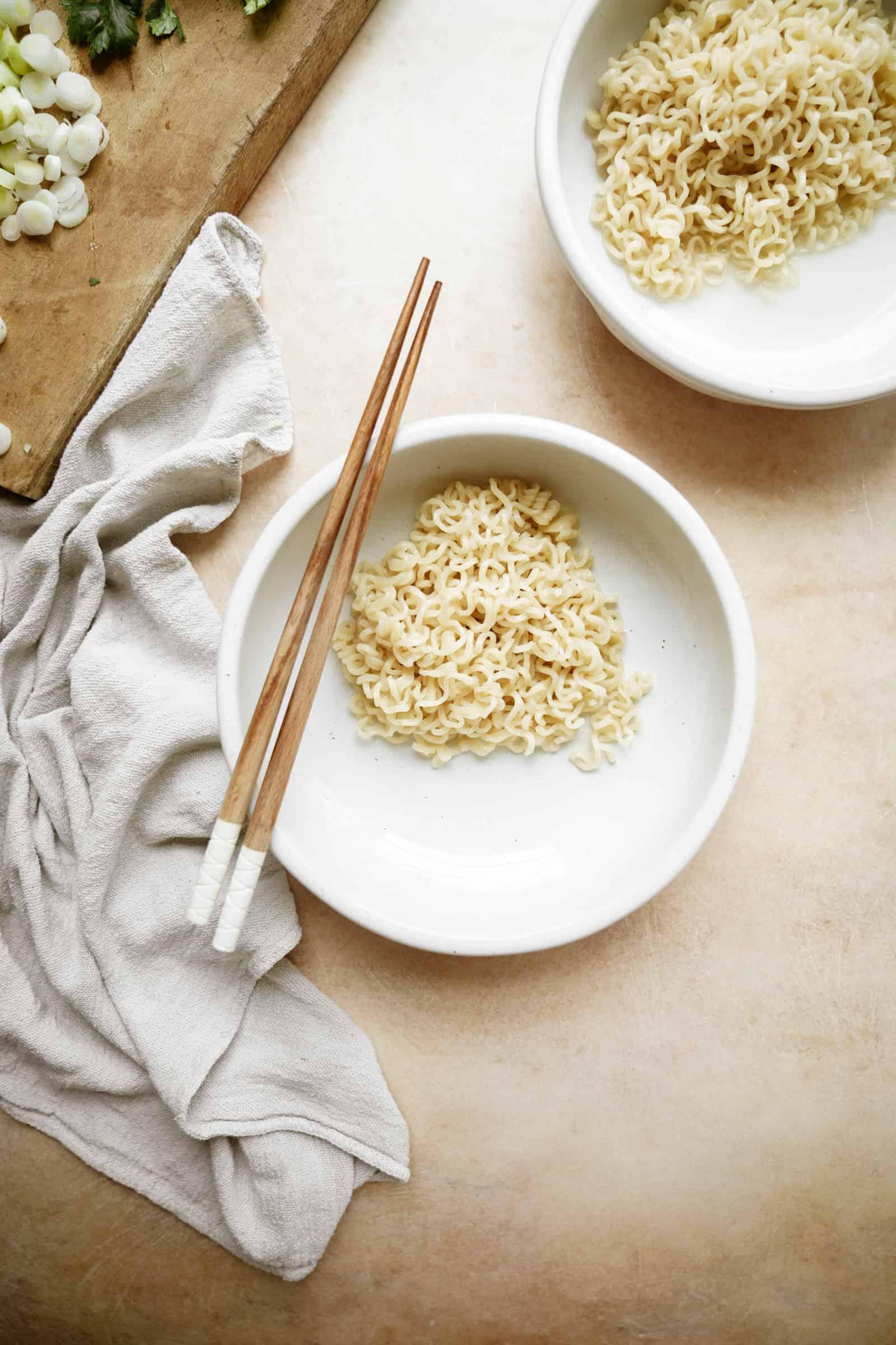 Noodles for creamy vegan ramen on a plate