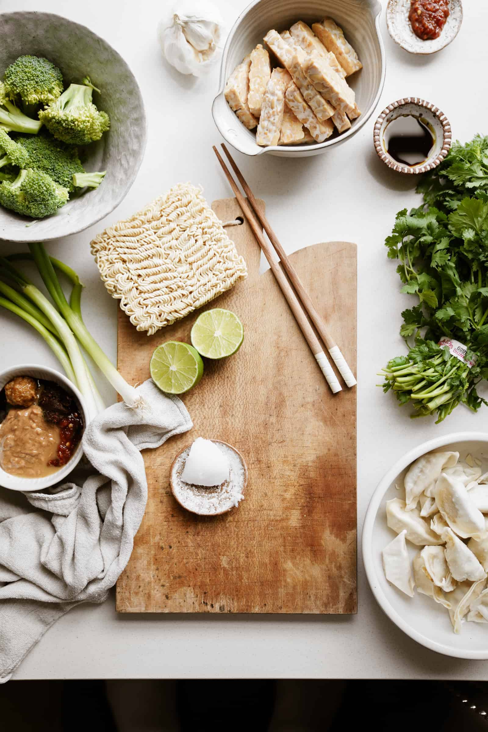 ingredients for easy vegan ramen on a white surface