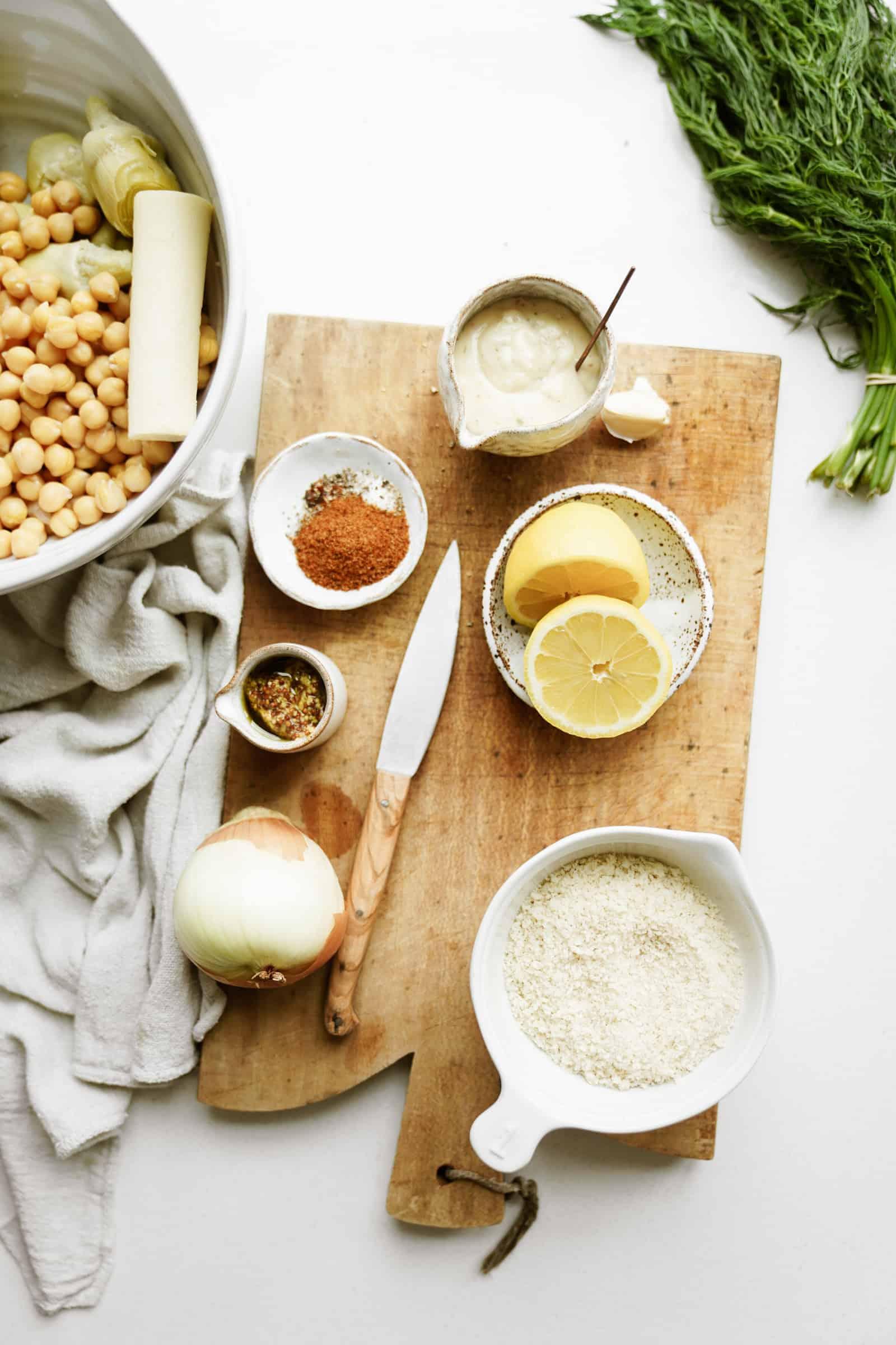 Ingredients for vegan crab cakes