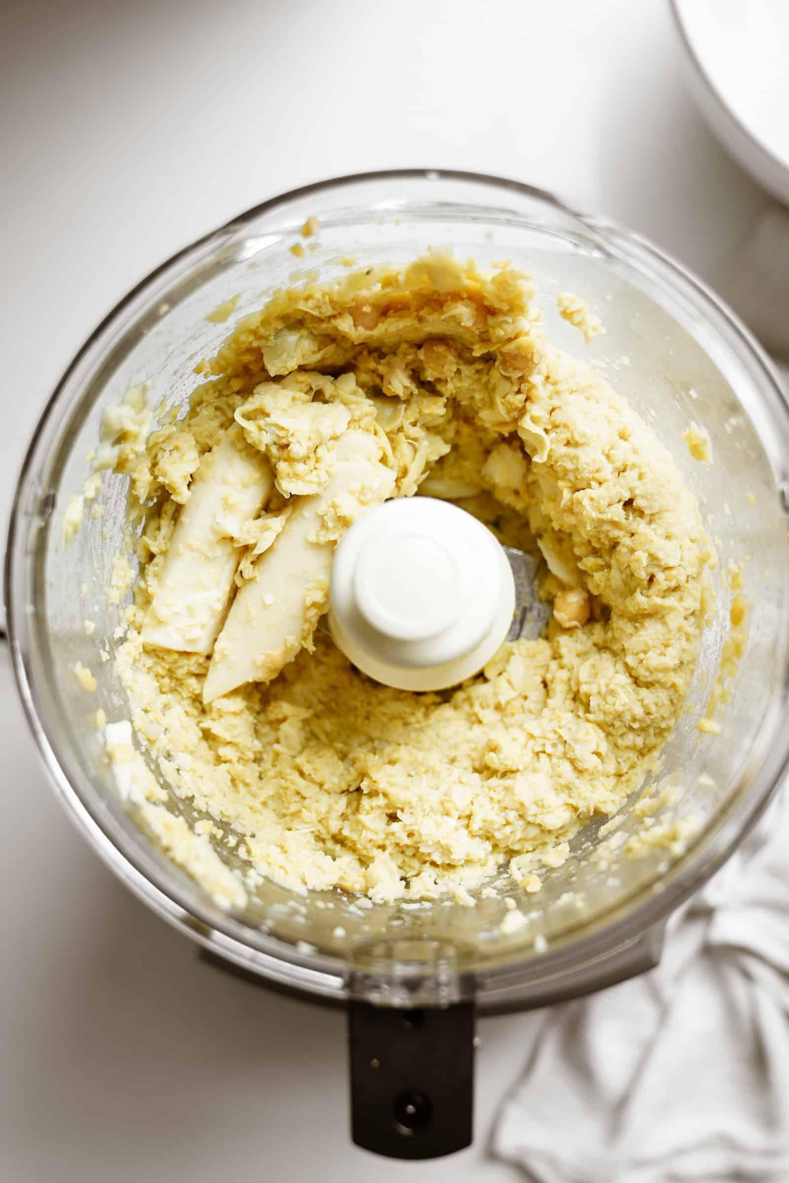 Ingredients in food processor for vegan crab cakes