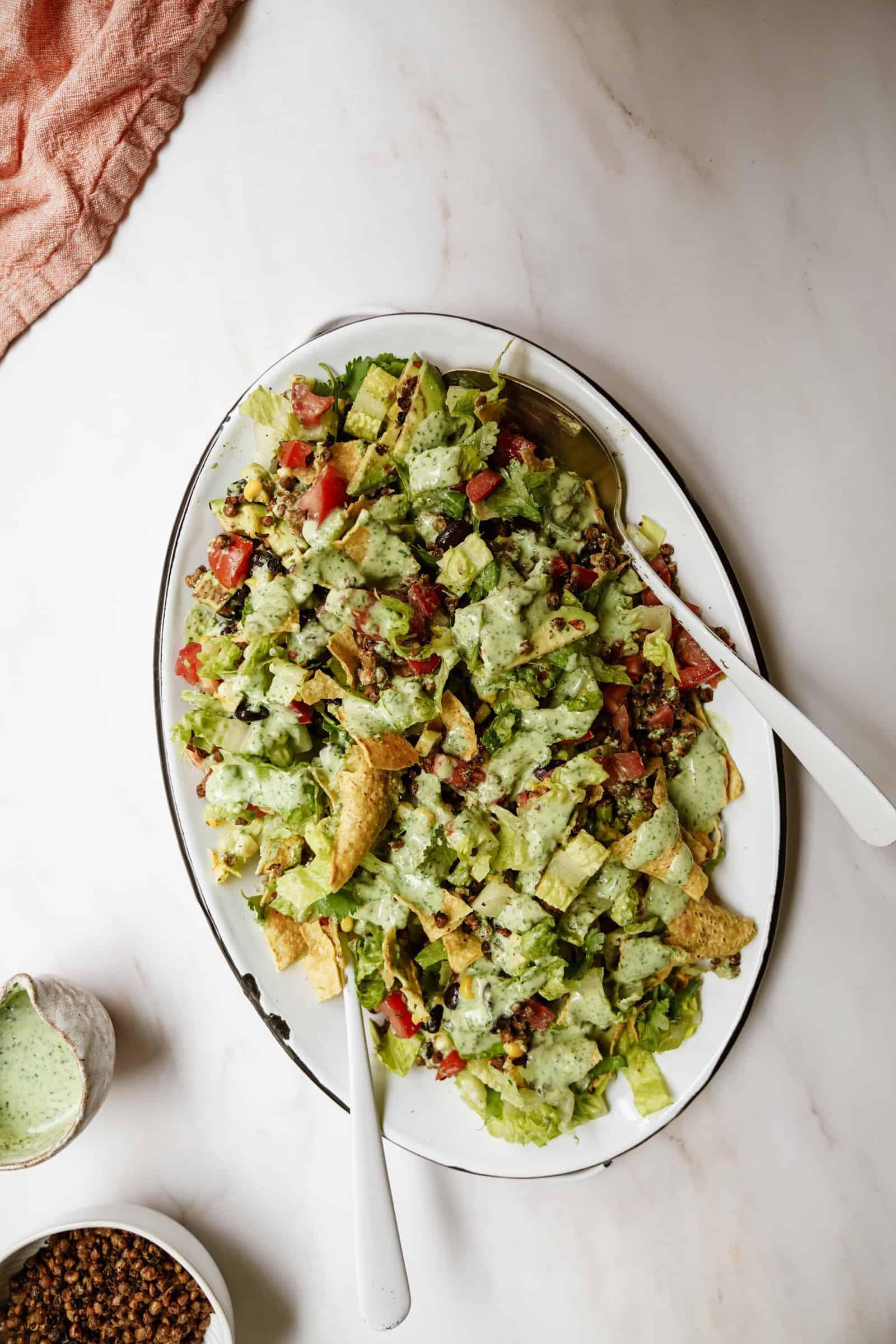 Vegan taco salad in a serving dish