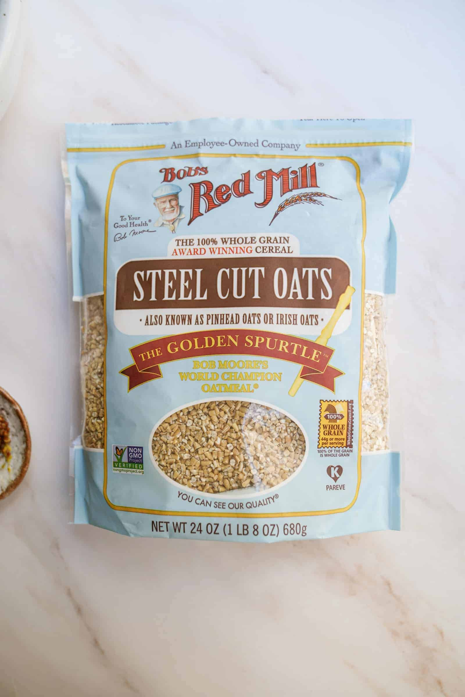 Steel Cut Oats in a bag from Bob's Red Mill