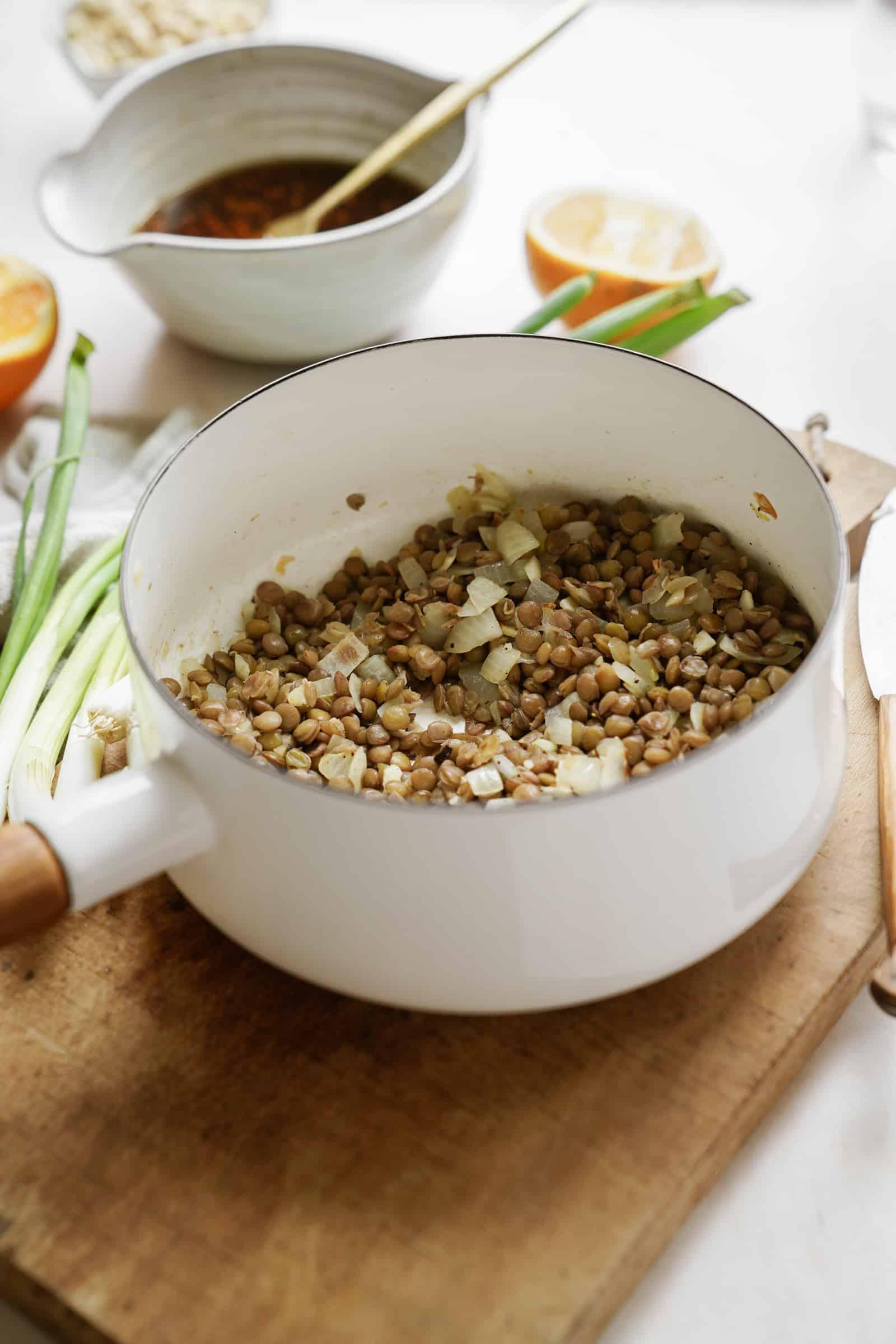 Ingredients for lentil meatballs in a pot