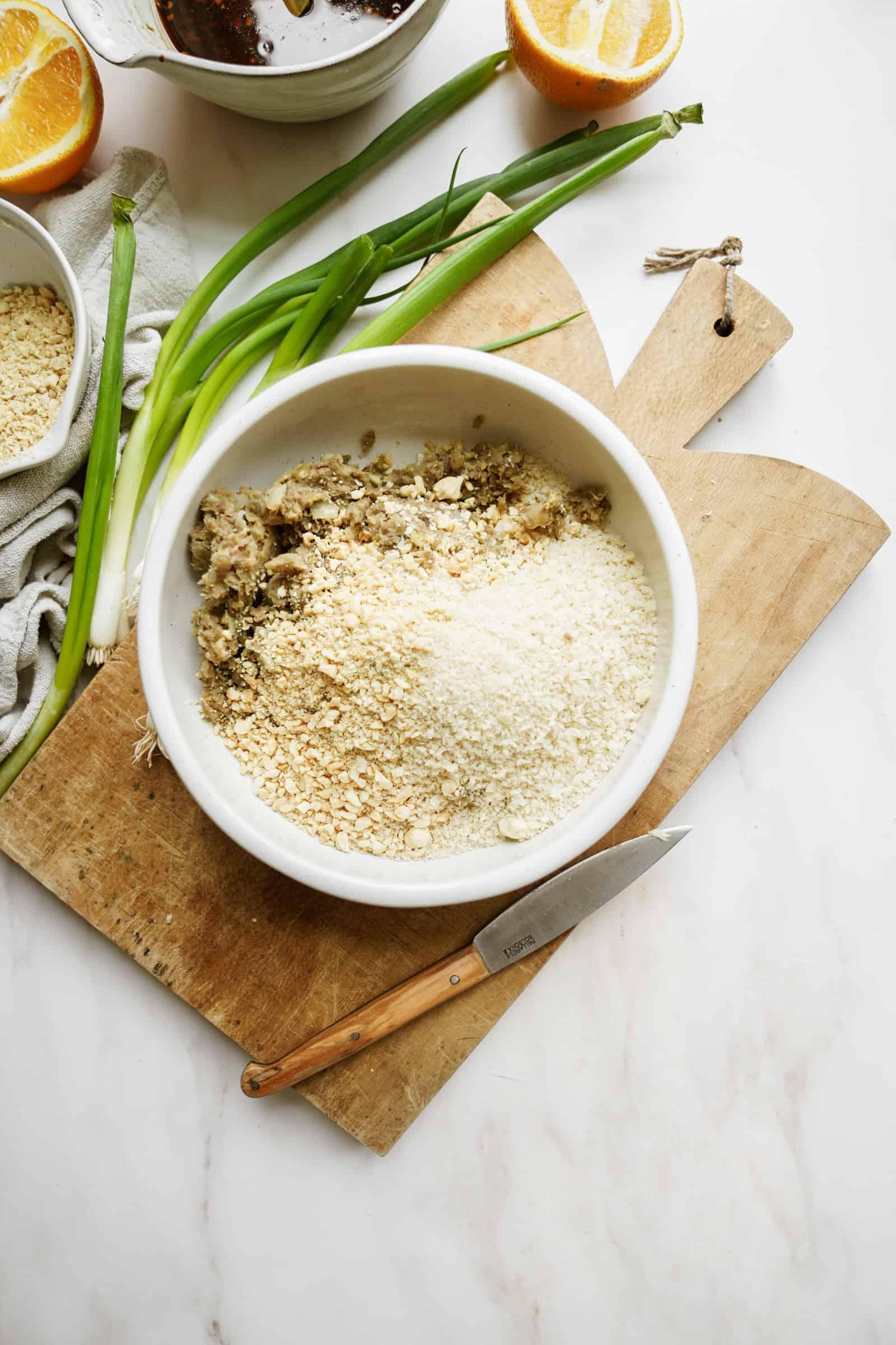 Dry ingredients for lentil meatballs in a bowl