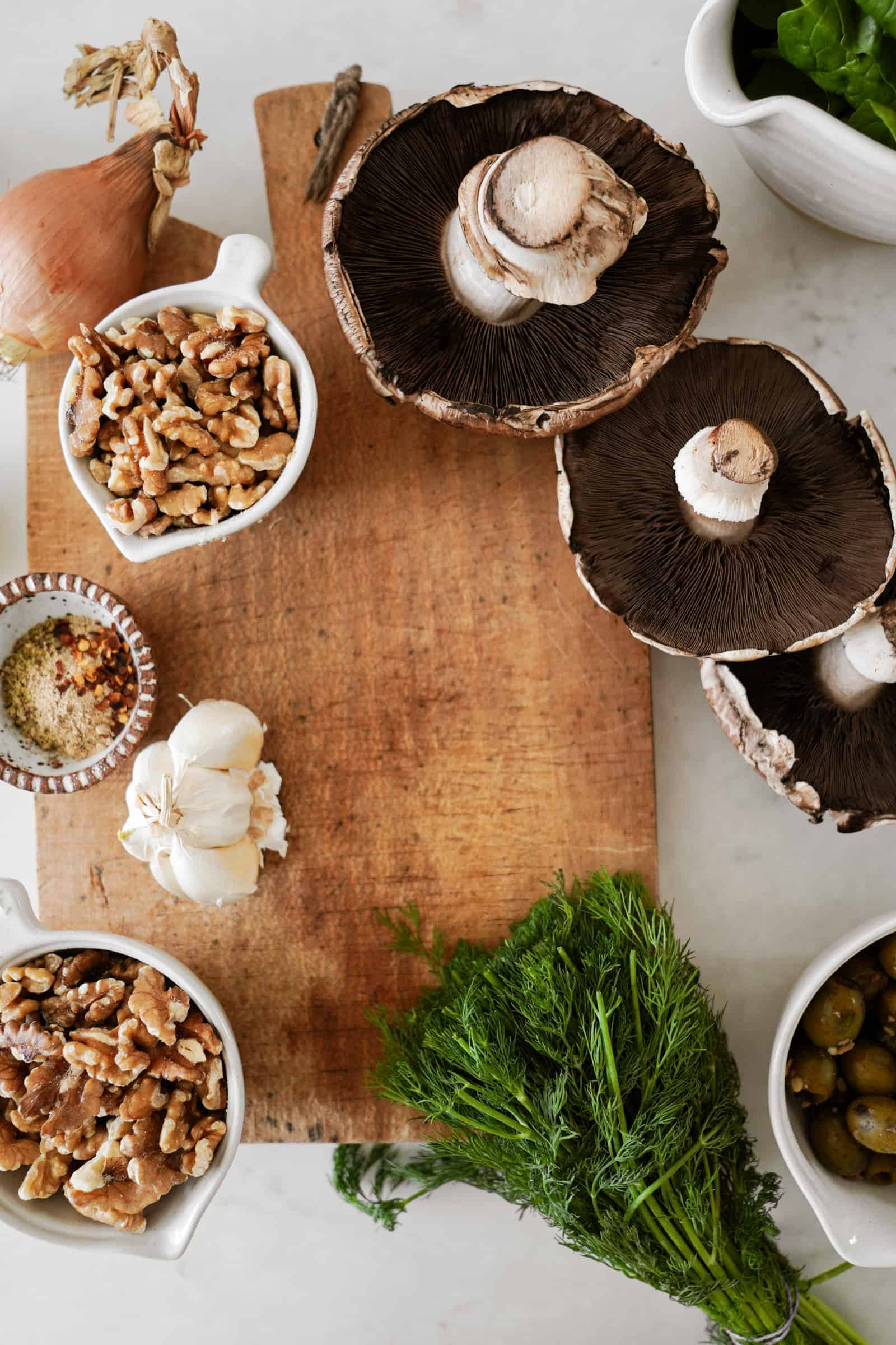 Fresh ingredients for Vegan Stuffed Portobello Mushrooms recipe