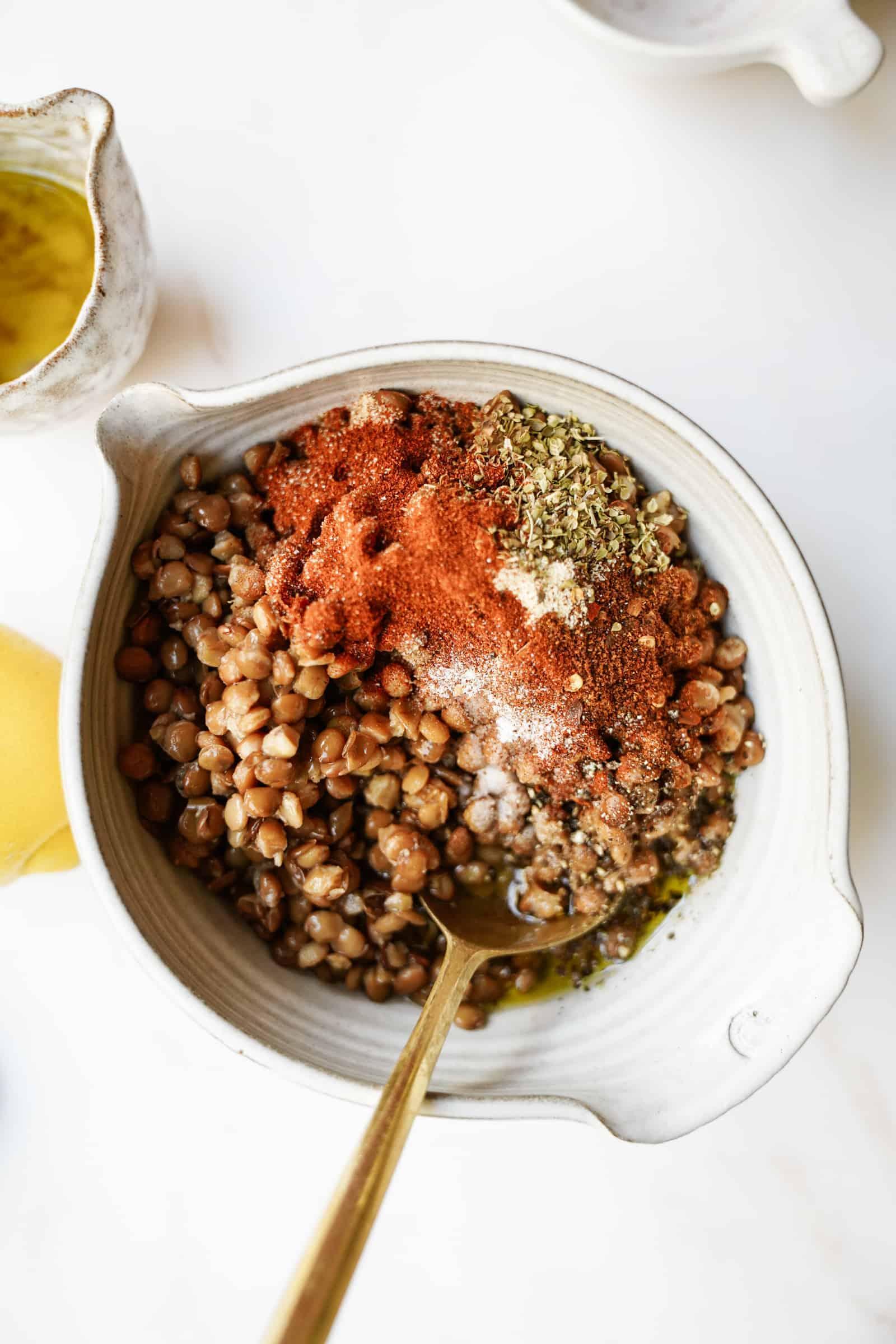 Lentils and seasoning for vegan taco salad