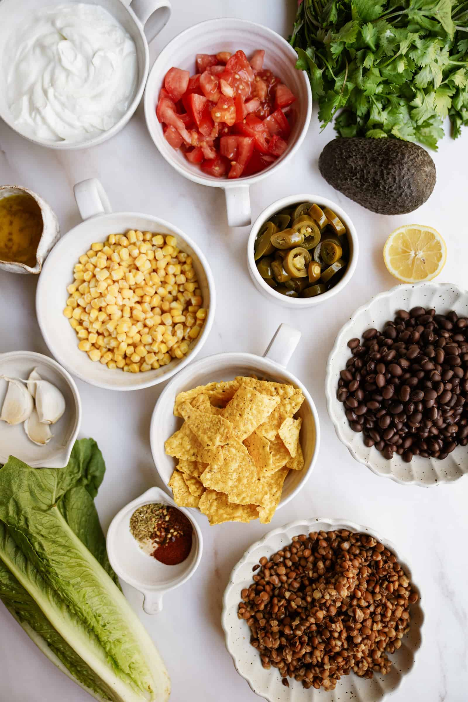 Ingredients for vegan taco salad on a table