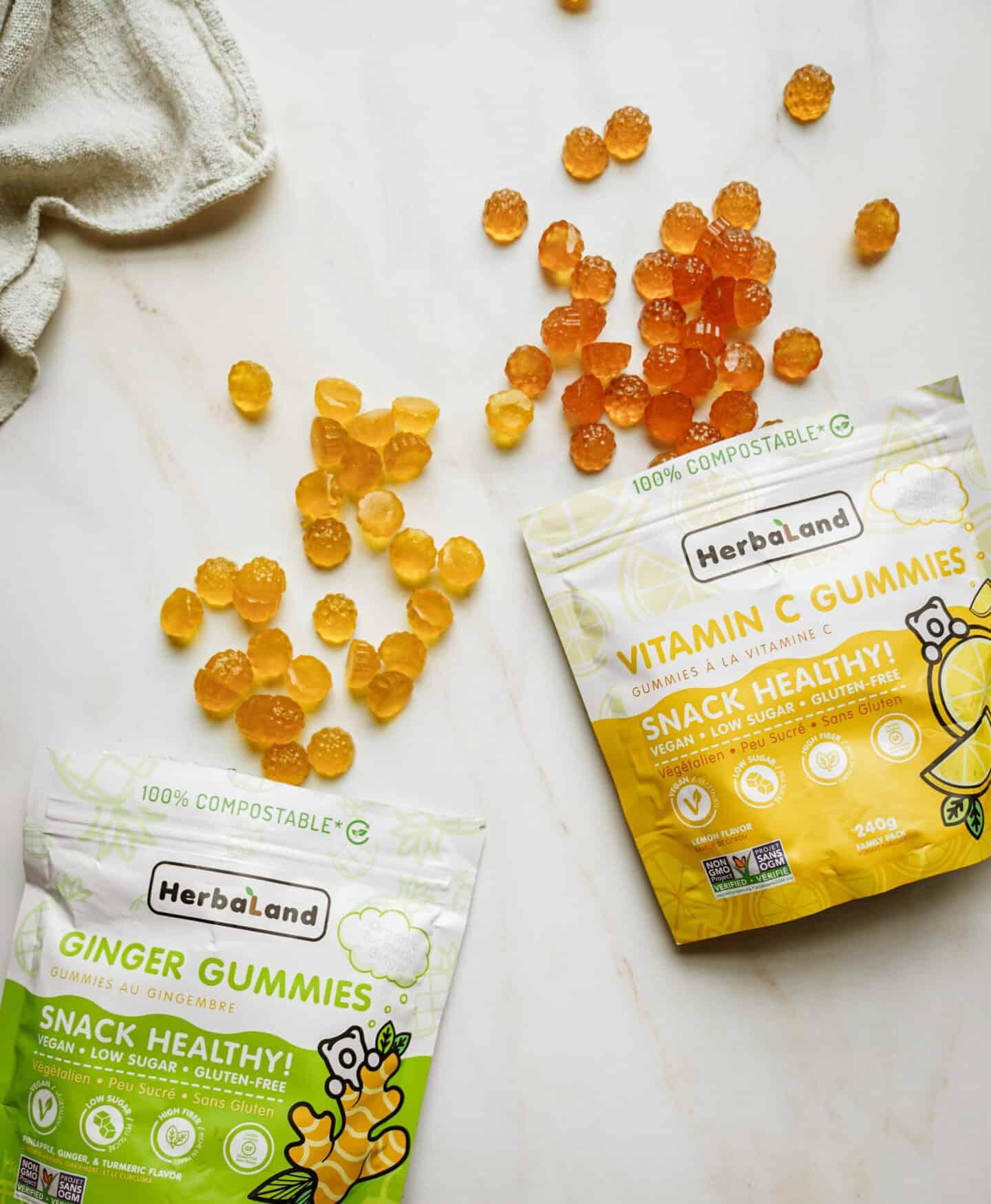 Herbaland Gummies on flat white counter