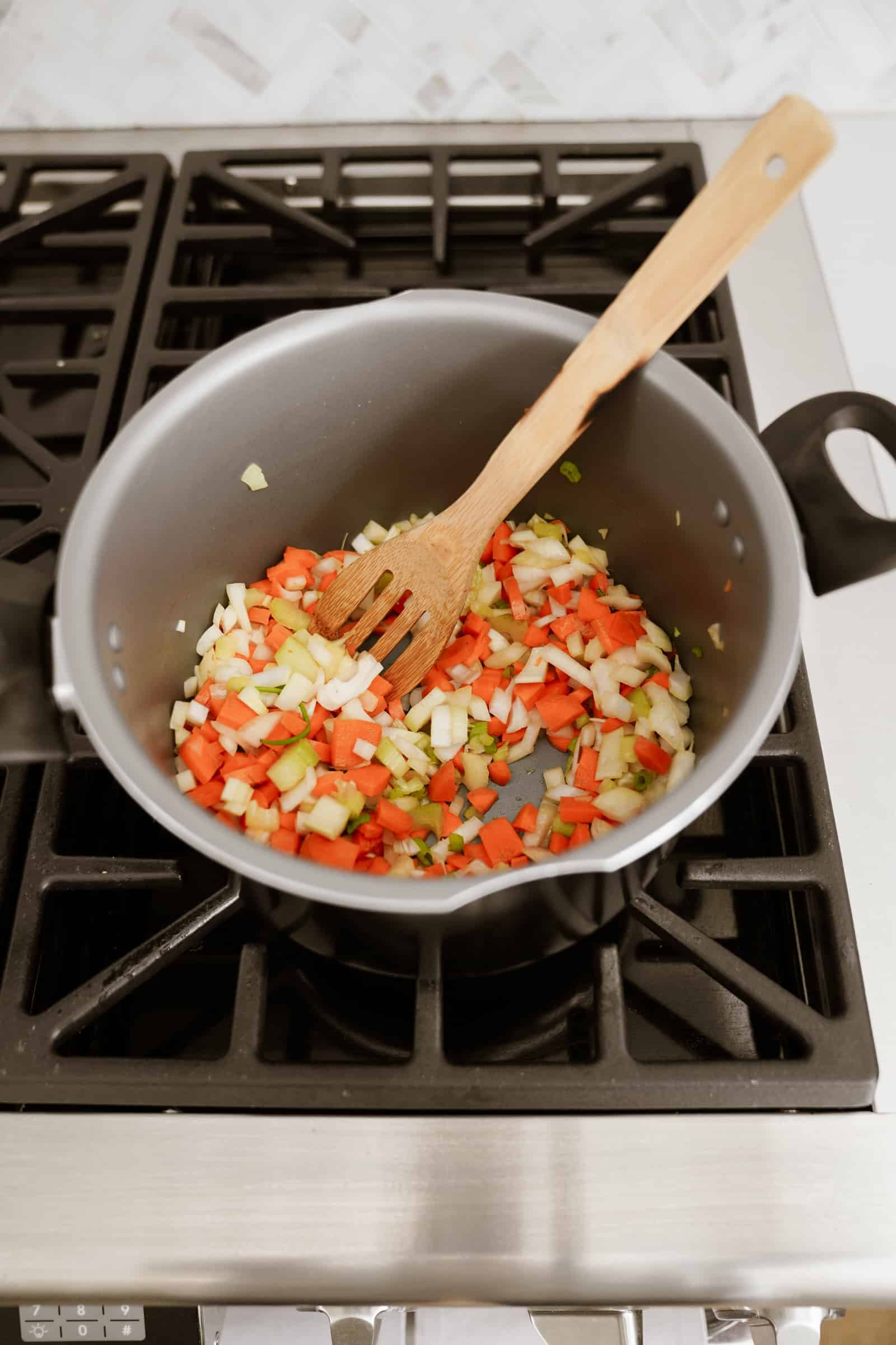 Vegetables in a pot on the stove