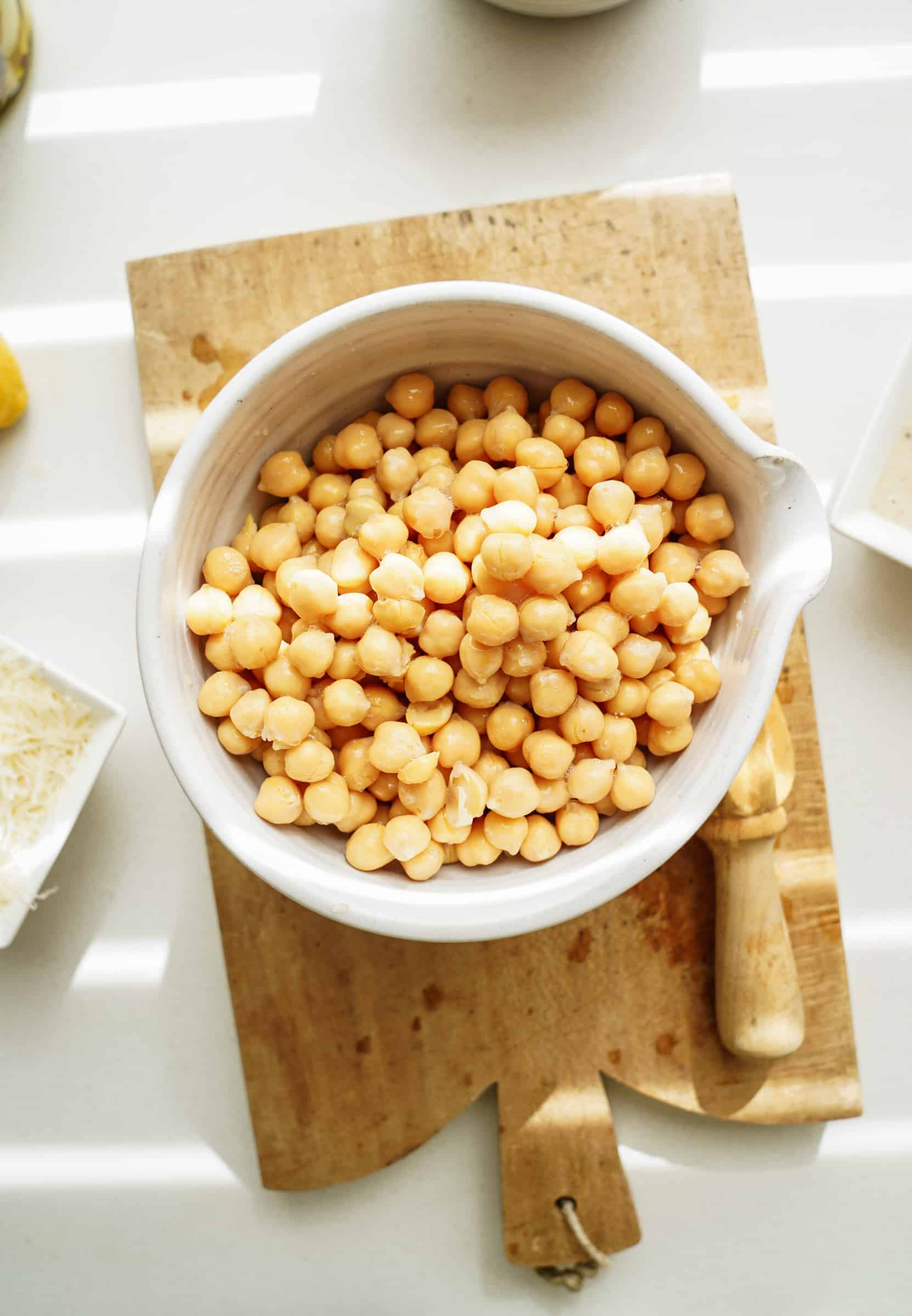 Chickpeas in a bowl for chickpea caesar salad wrap