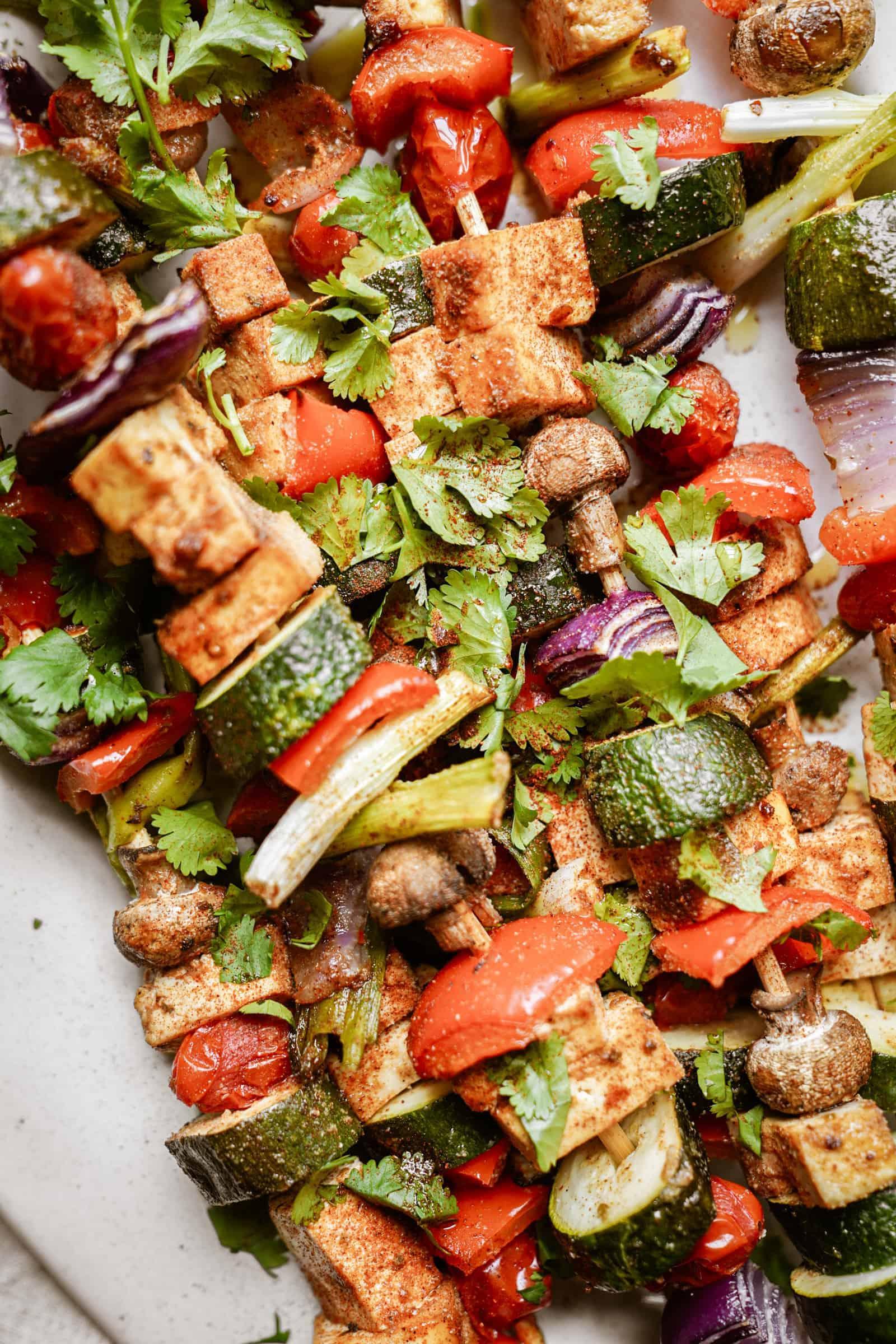 Marinated Tofu and Vegetable Skewers on tray