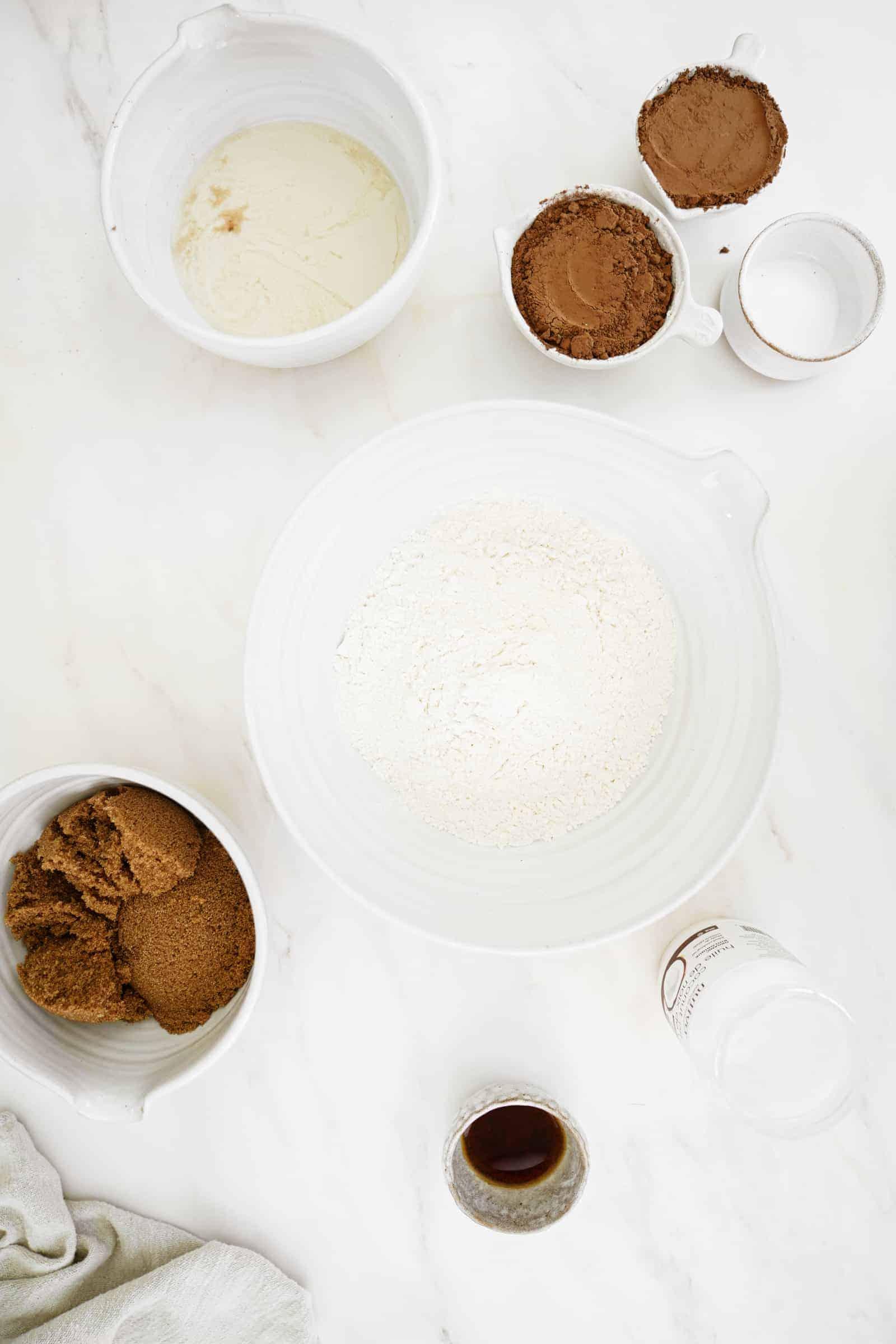 Ingredients for vegan chocolate cake