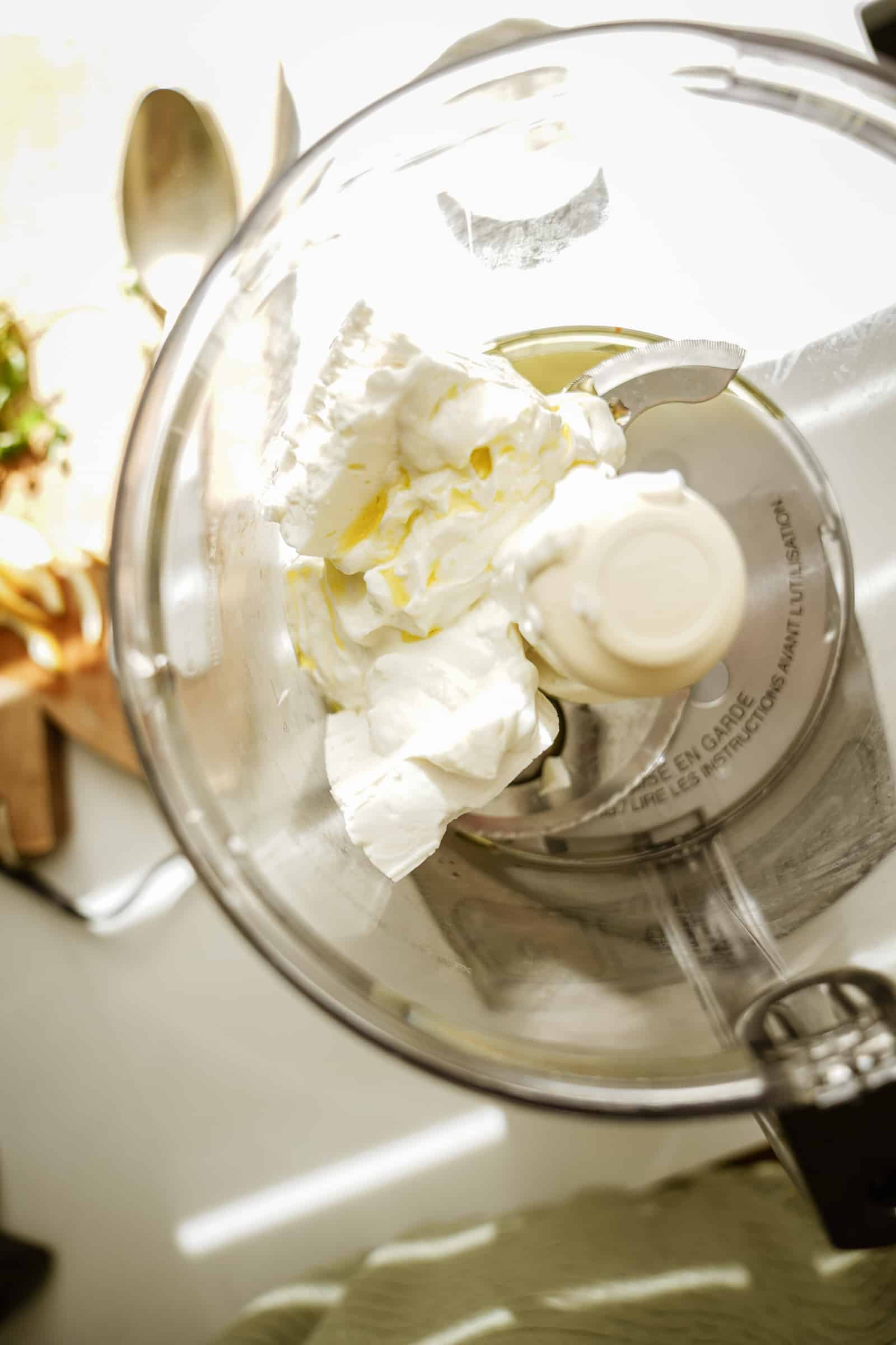 Ingredients for whipped feta in a bowl