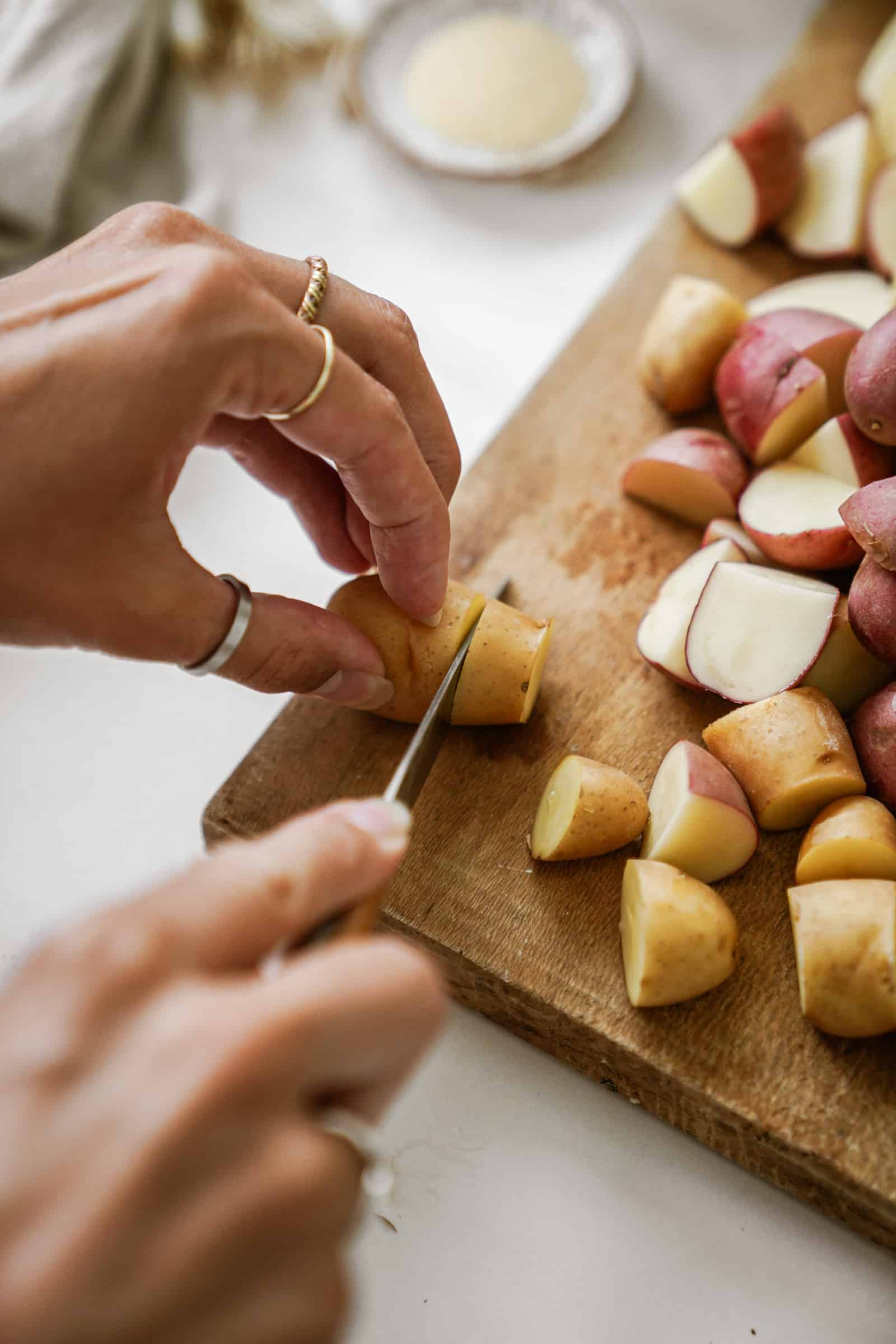 Hang cutting potatoes for Greek Potato Salad