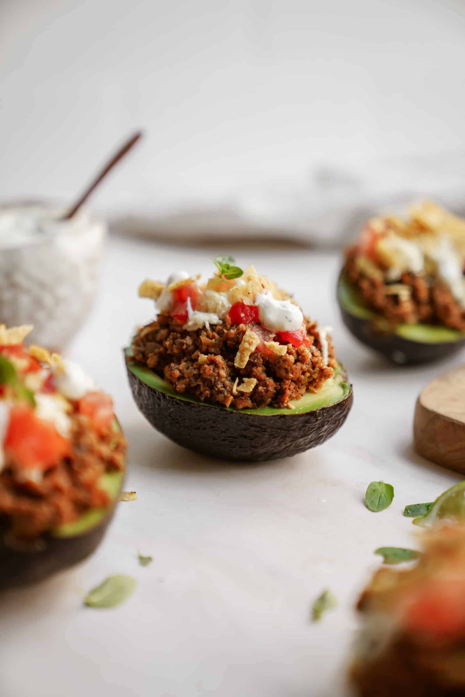 Scattered taco stuffed avocado