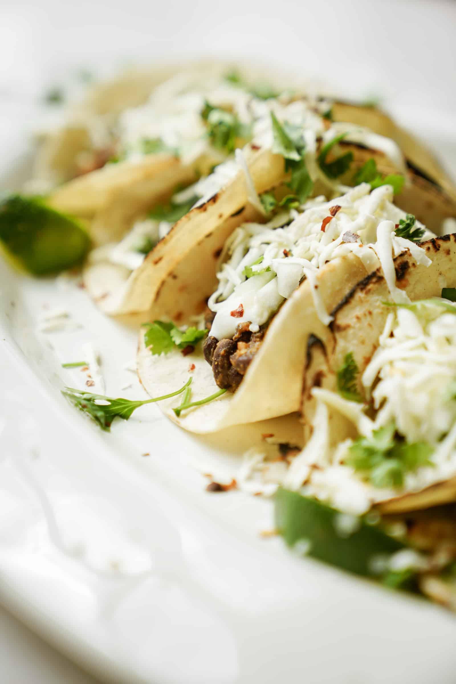 Vegetarian black bean tacos close-up