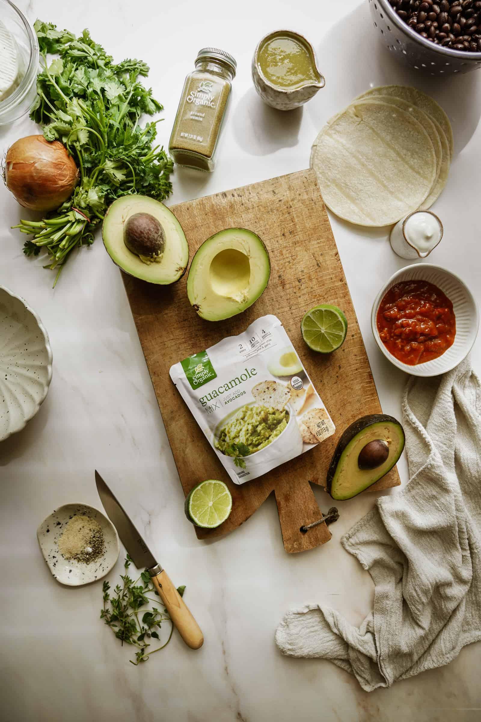 Ingredients for Vegetarian Black Bean Tacos on cutting board