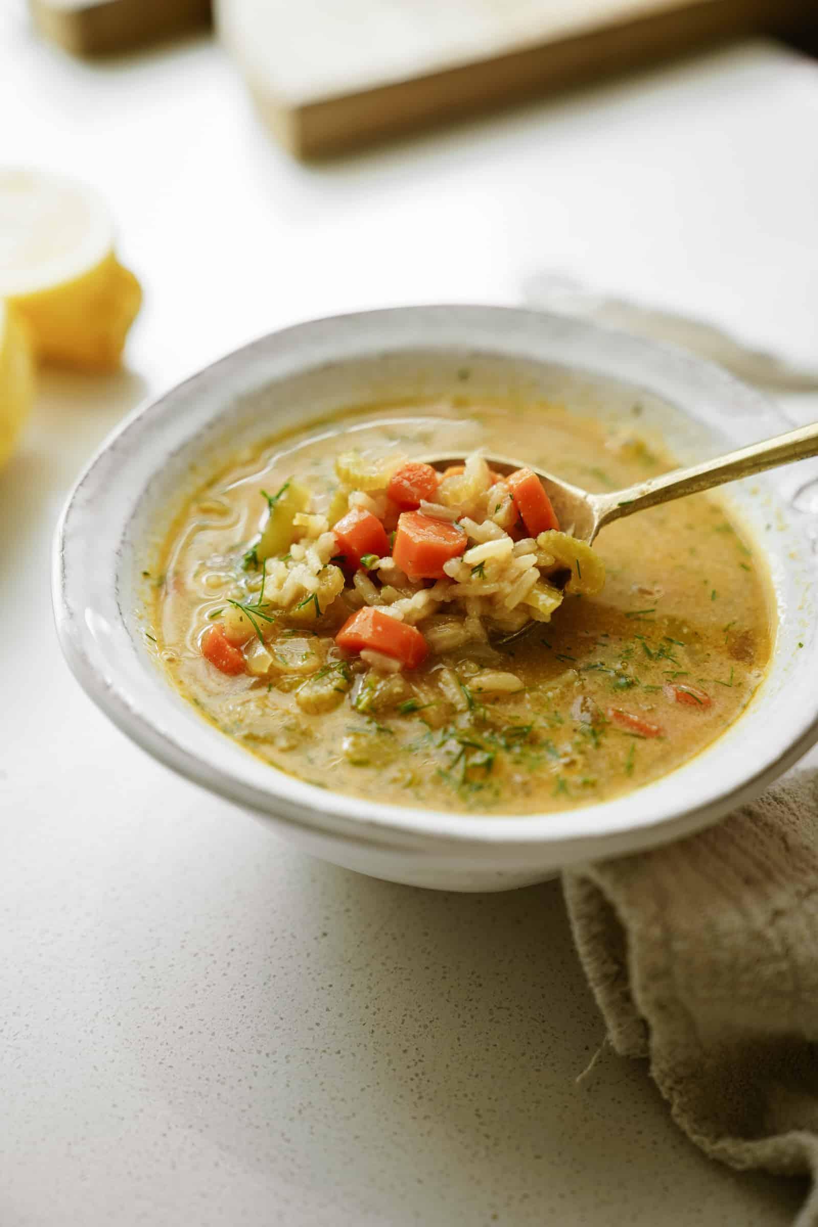 Bowl of lemon rice soup