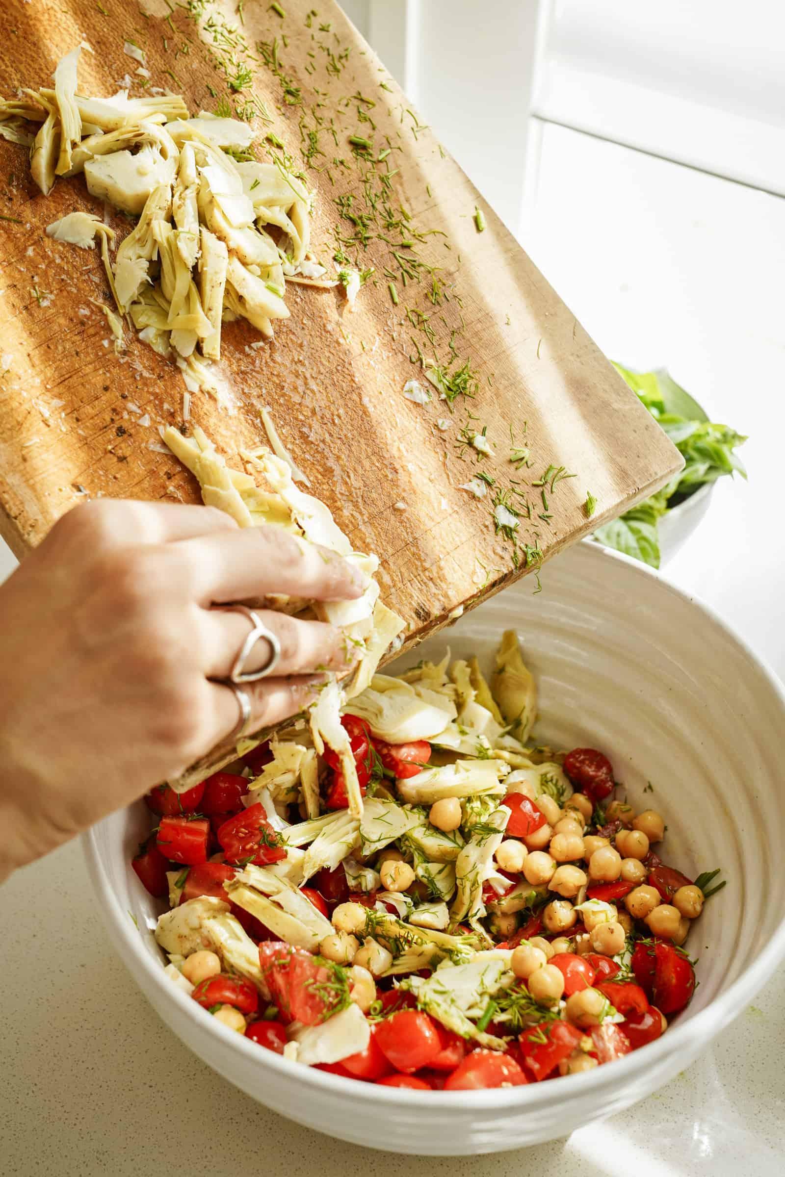 Adding artichokes to a salad recipe
