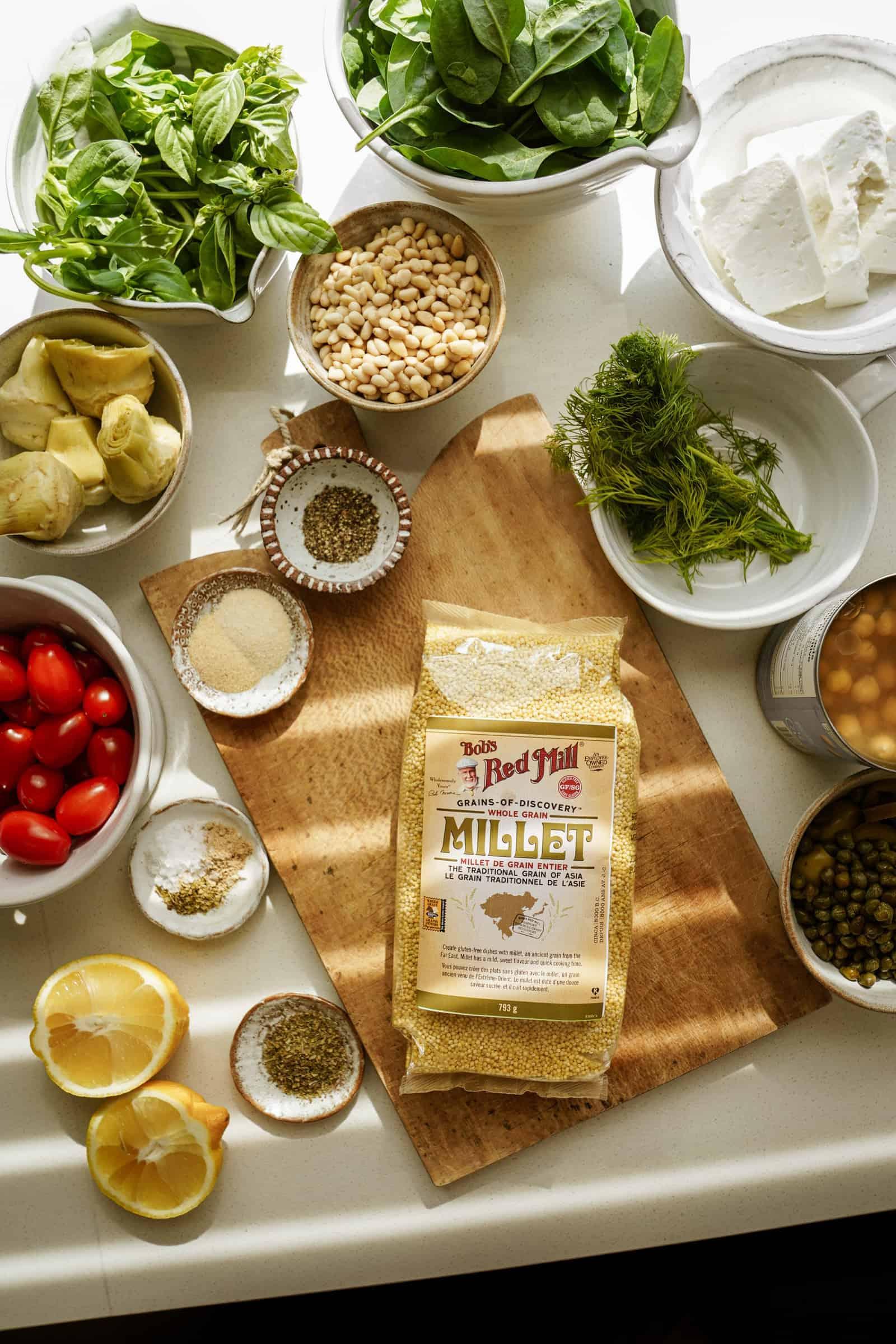 Ingredients on cutting board for Mediterranean Salad Recipe