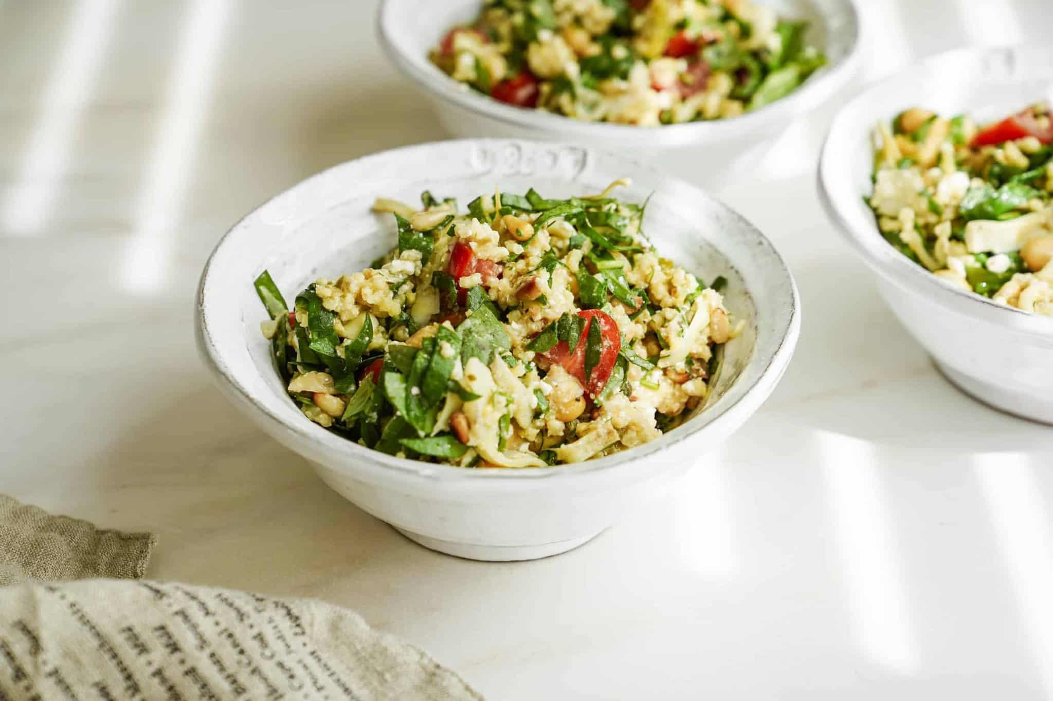 Mediterranean Salad Recipe in a large white bowl