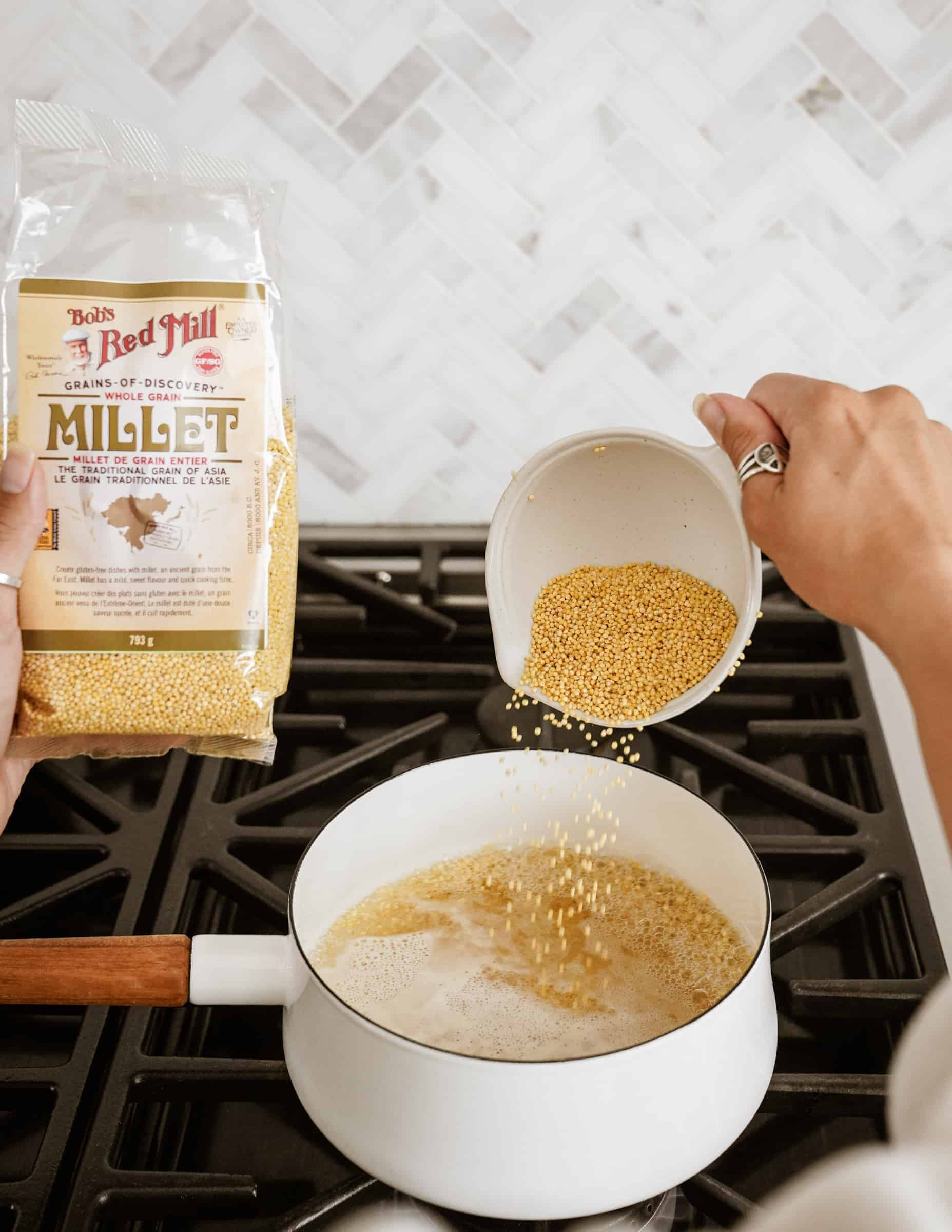 Preparing millet from Bob's Red Mill in pot