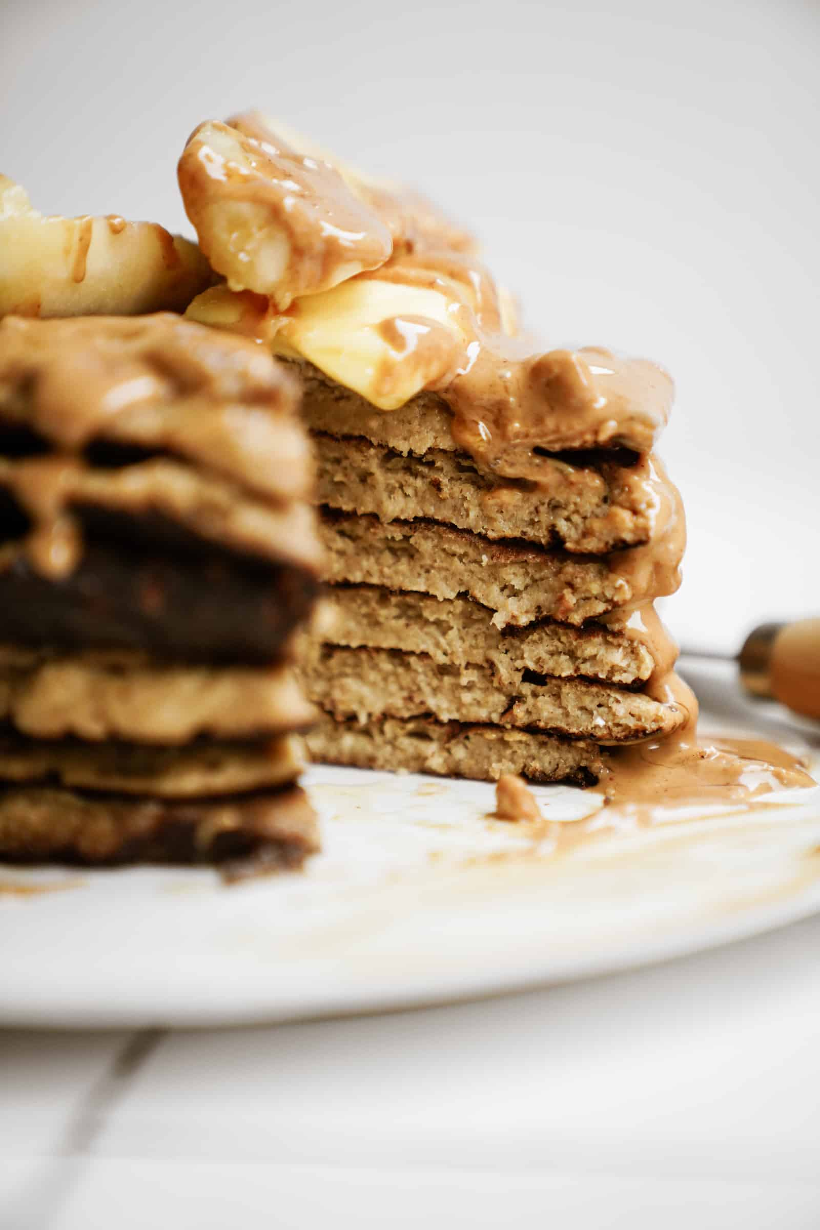 Stack of peanut butter banana pancakes