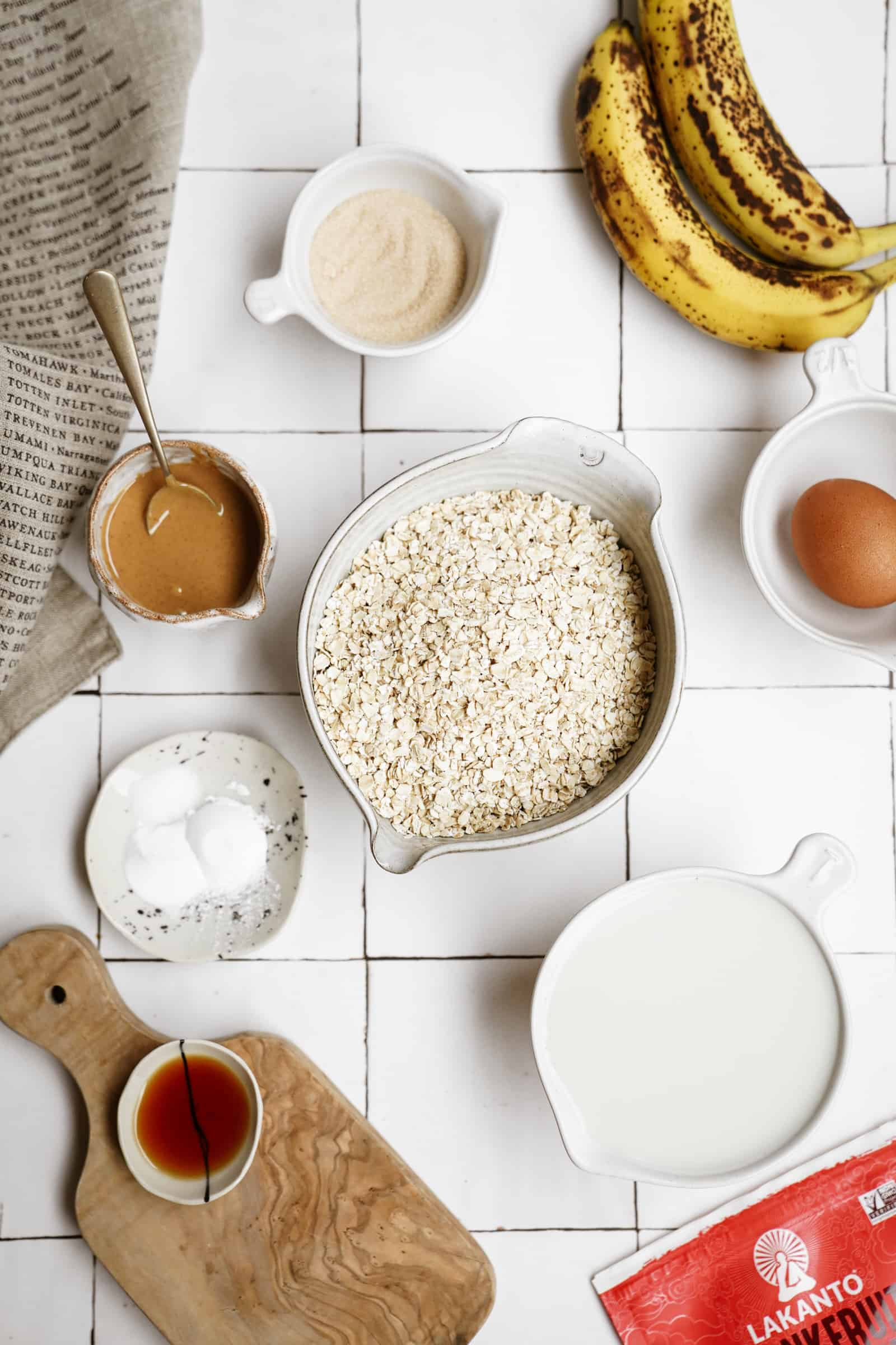 Ingredients for peanut butter banana pancakes