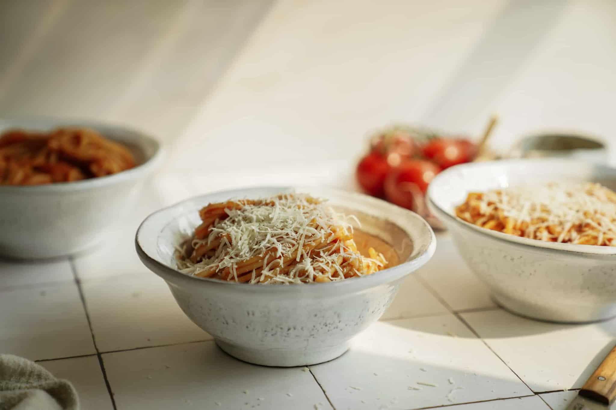 Bowl of Greek Pasta Sauce on spaghetti