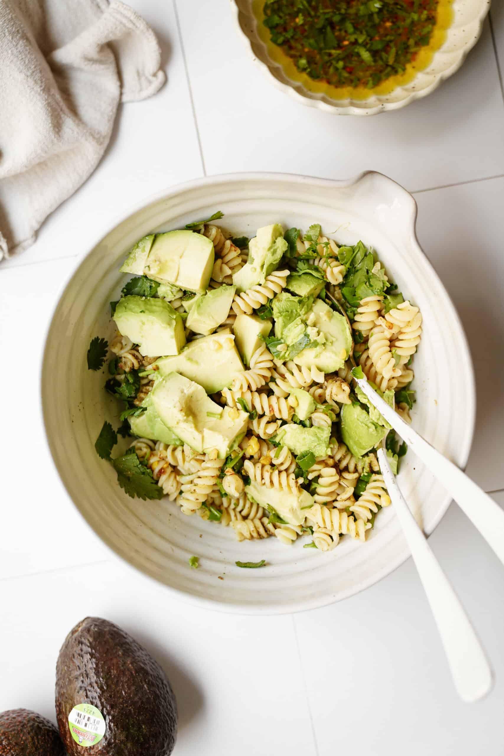 Avocado pasta salad in a bowl