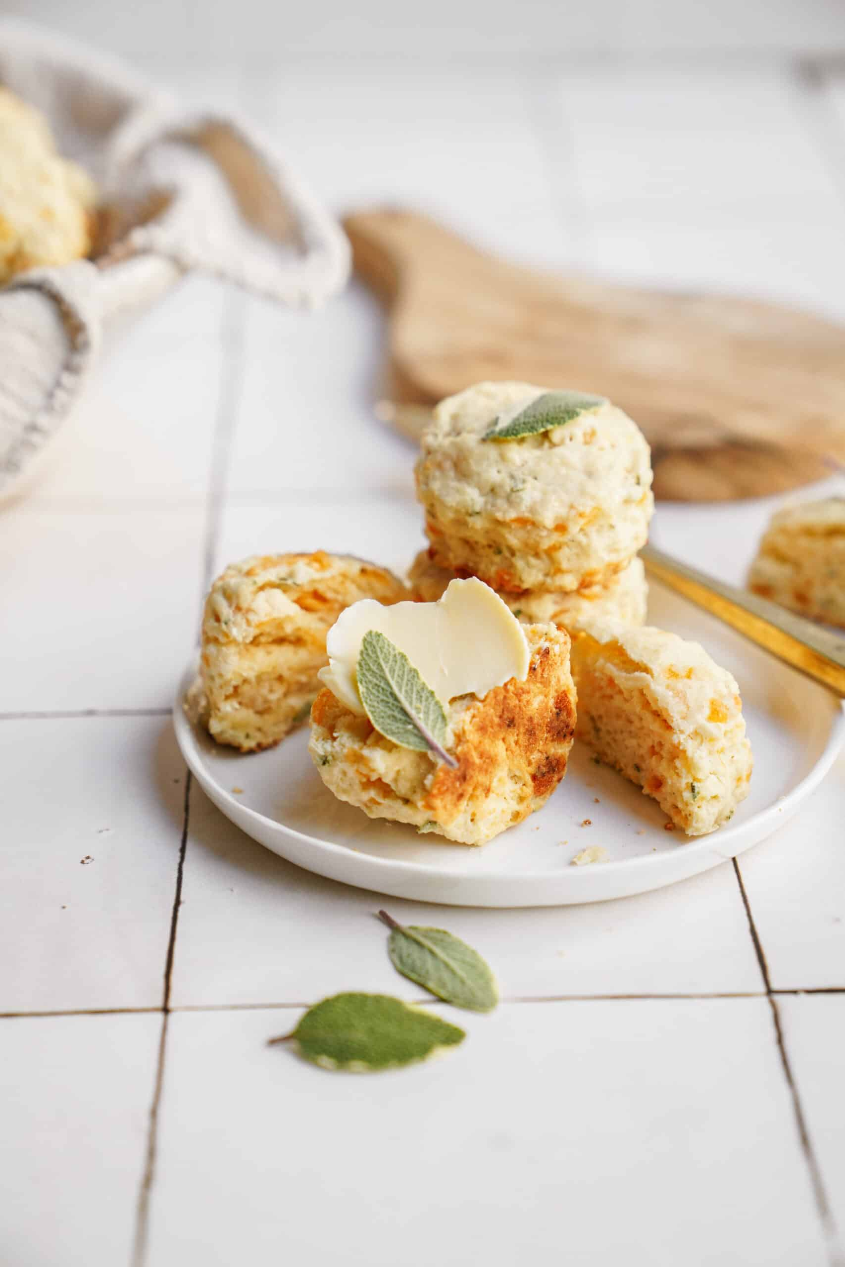 Cheddar biscuits on a white plate