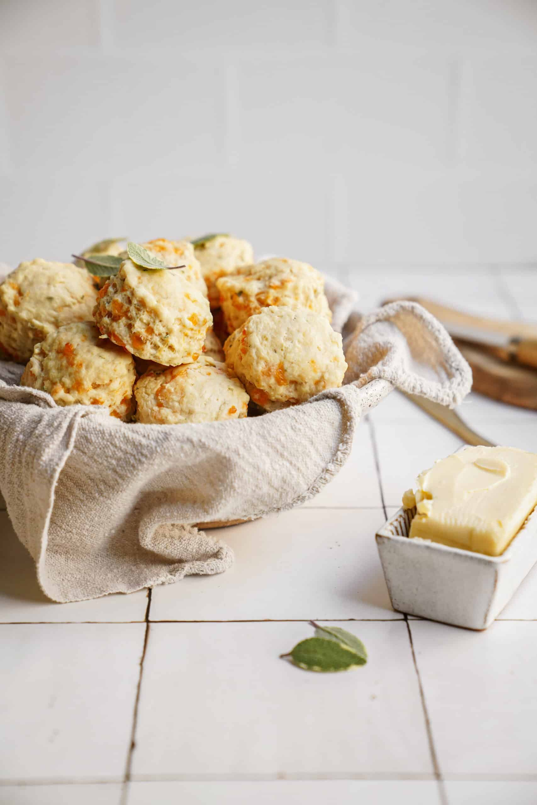 Cheddar biscuits in a basket
