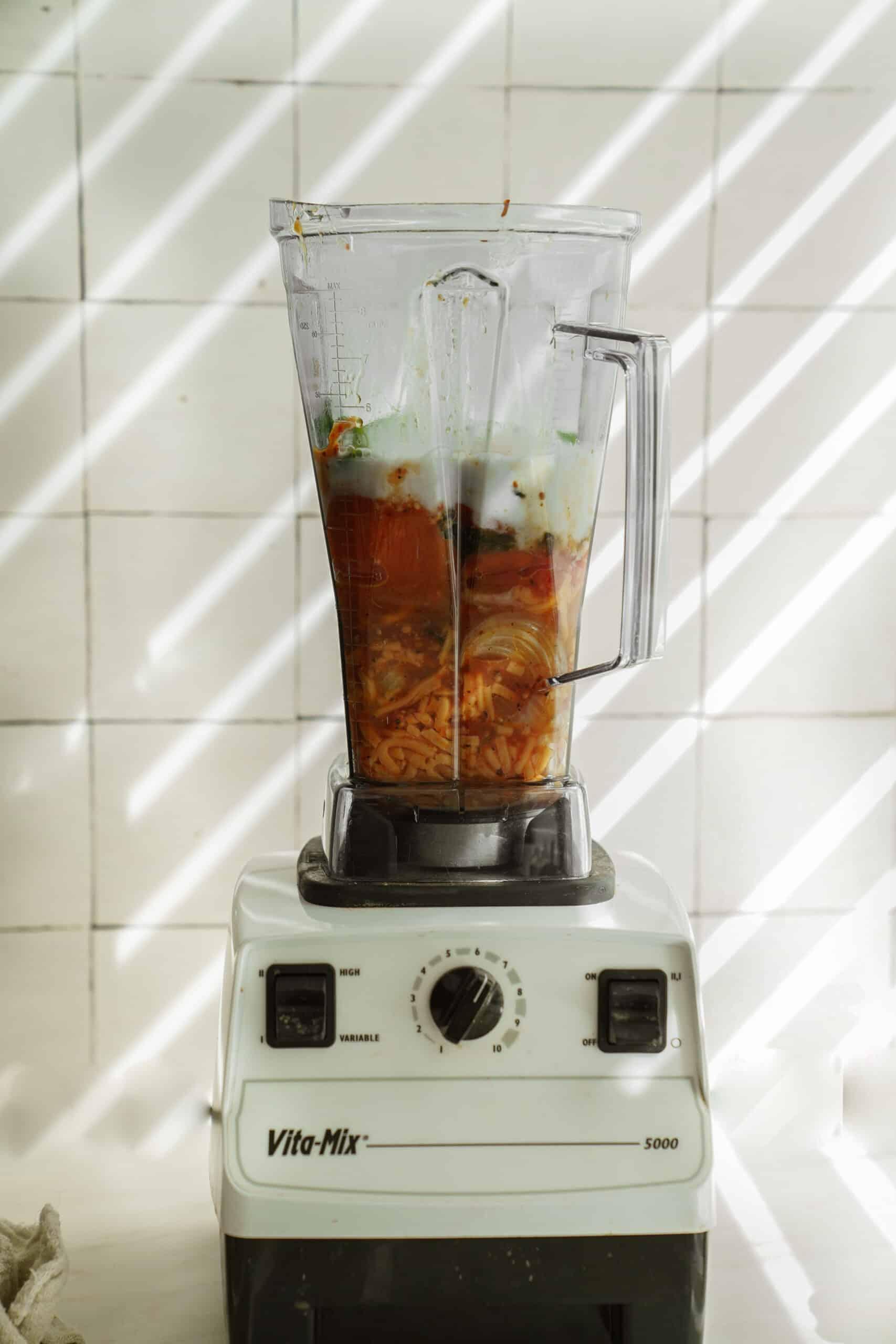 Soup ingredients in a blender