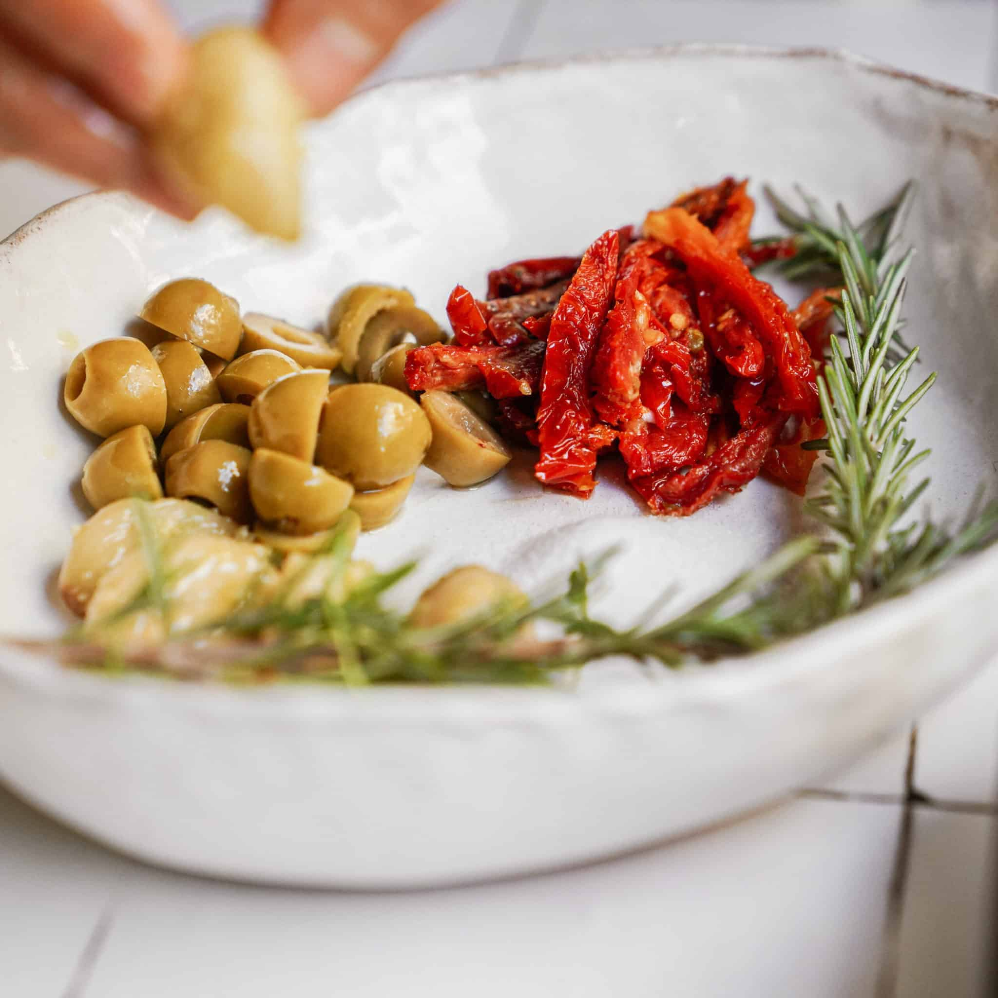 Fresh ingredients in a bowl for Focaccia Bread Recipe