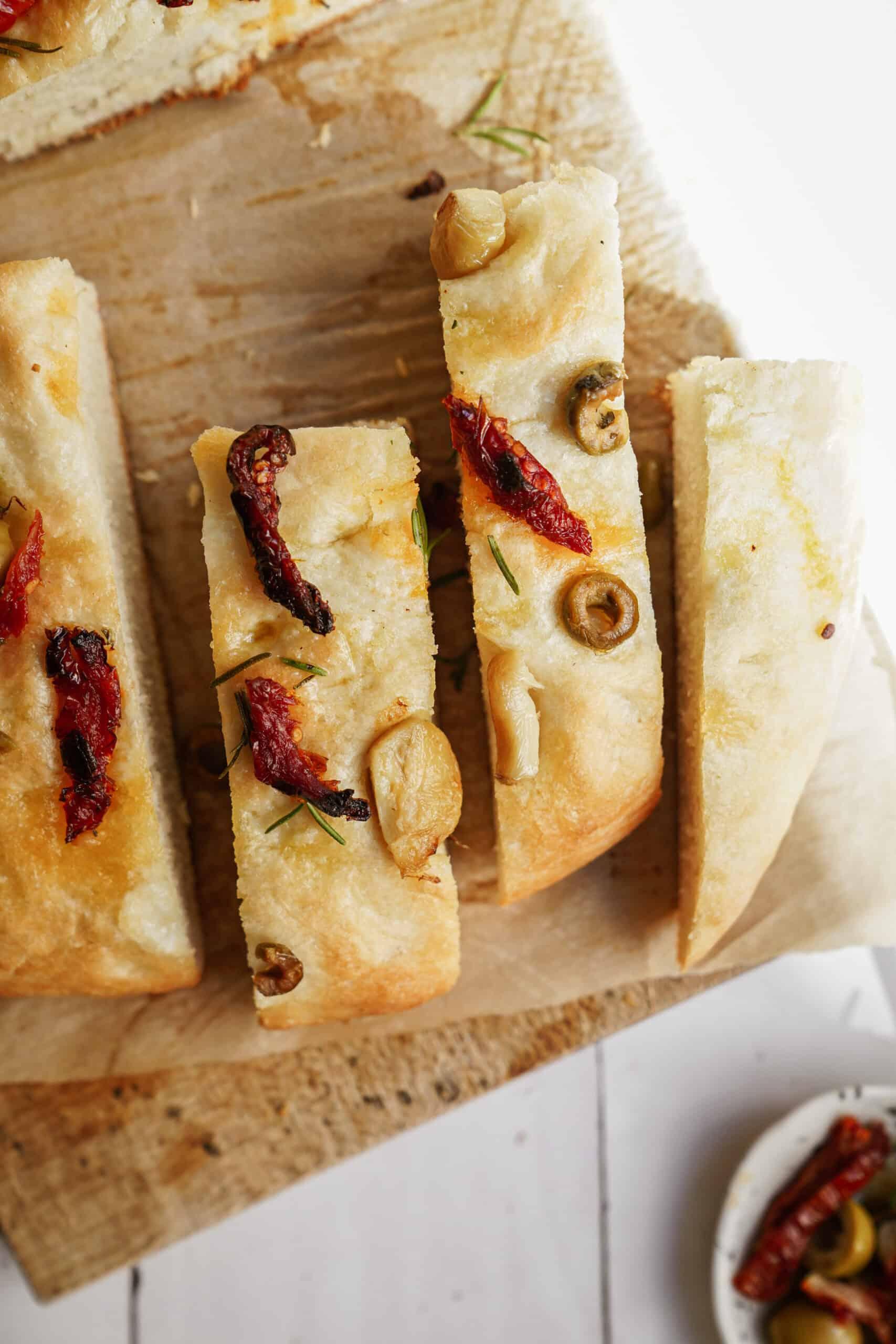 Focaccia Bread Recipe on cutting board