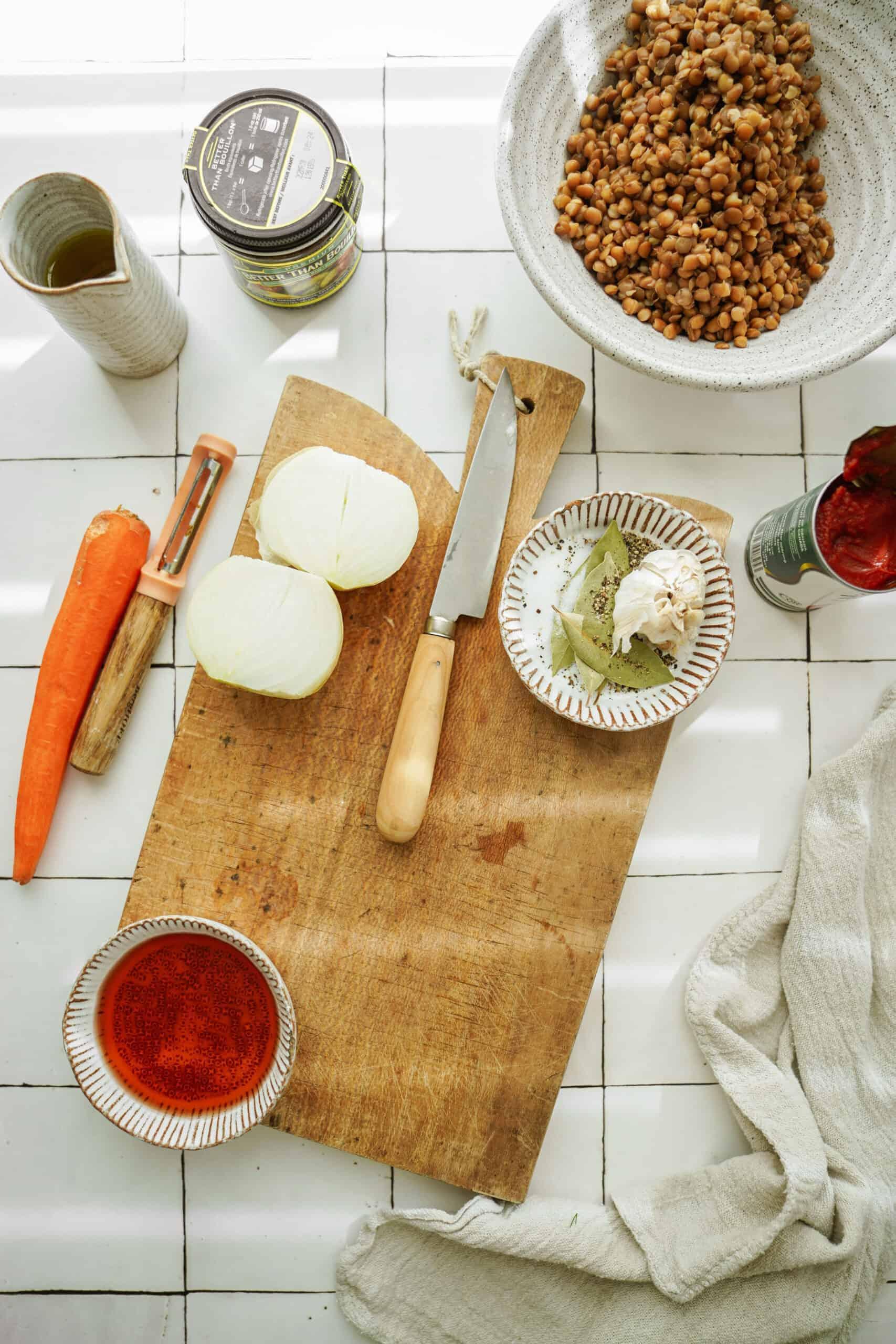 Ingredients for Greek lentil soup