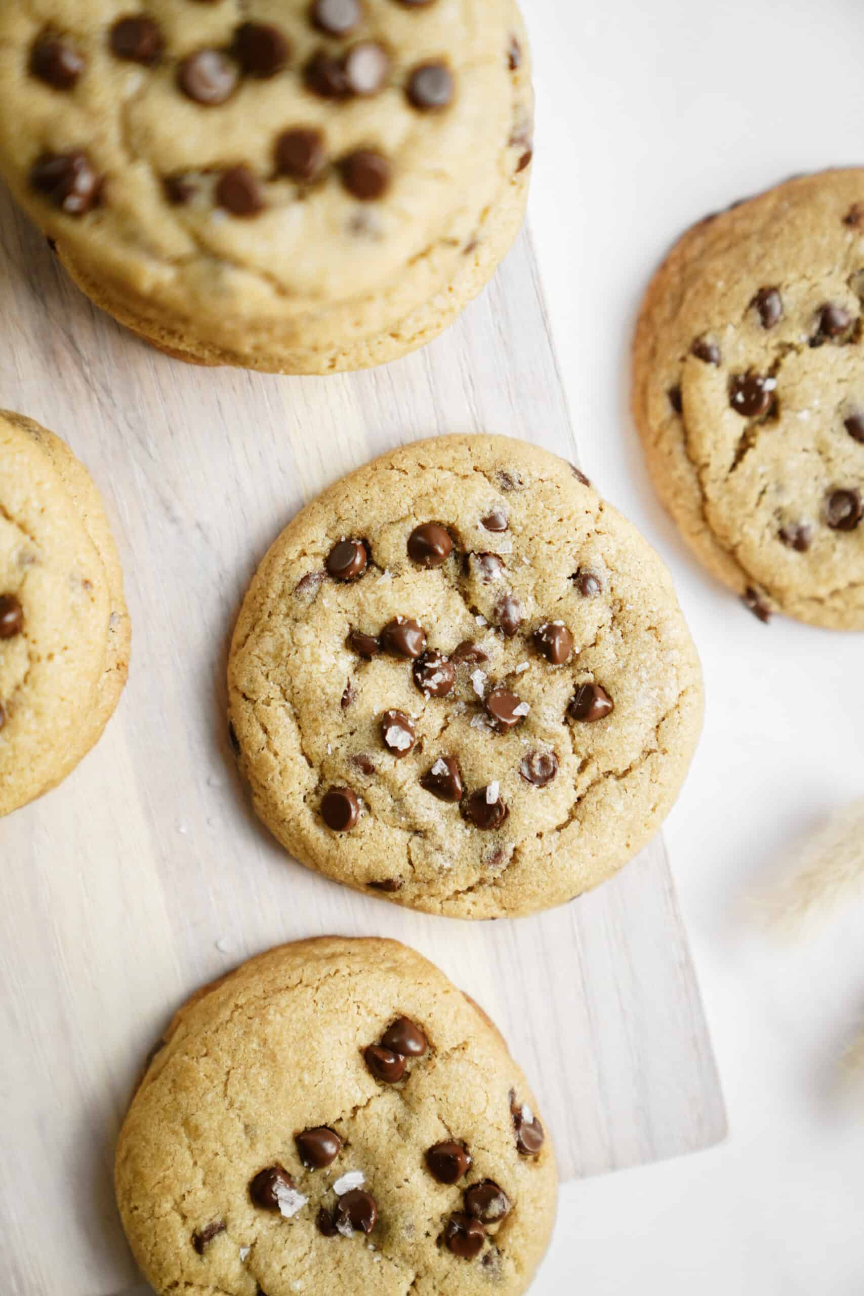 Homemade chocolate chip cookies on a counter