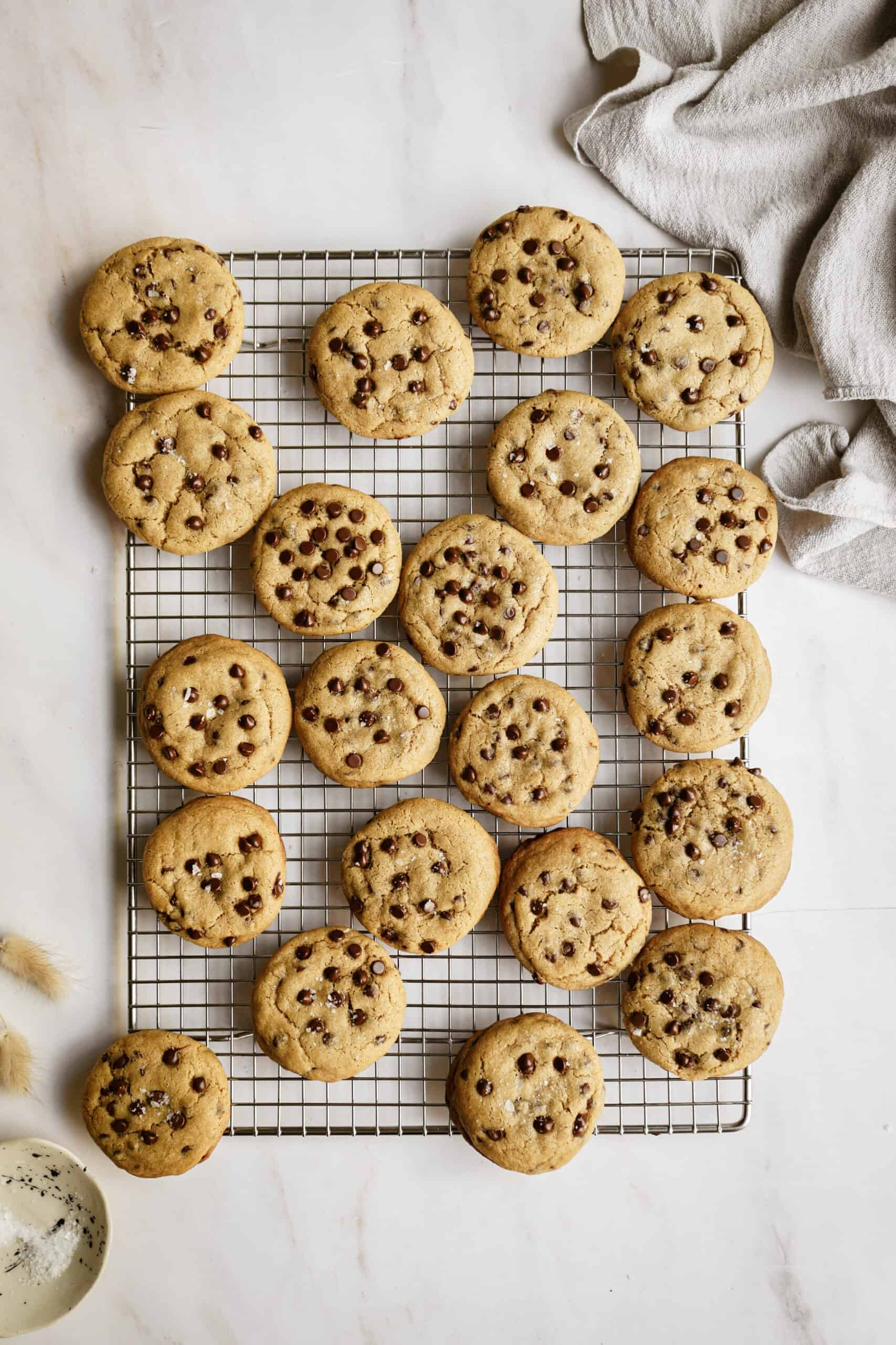 Homemade chocolate chip cookies on a cooling rack