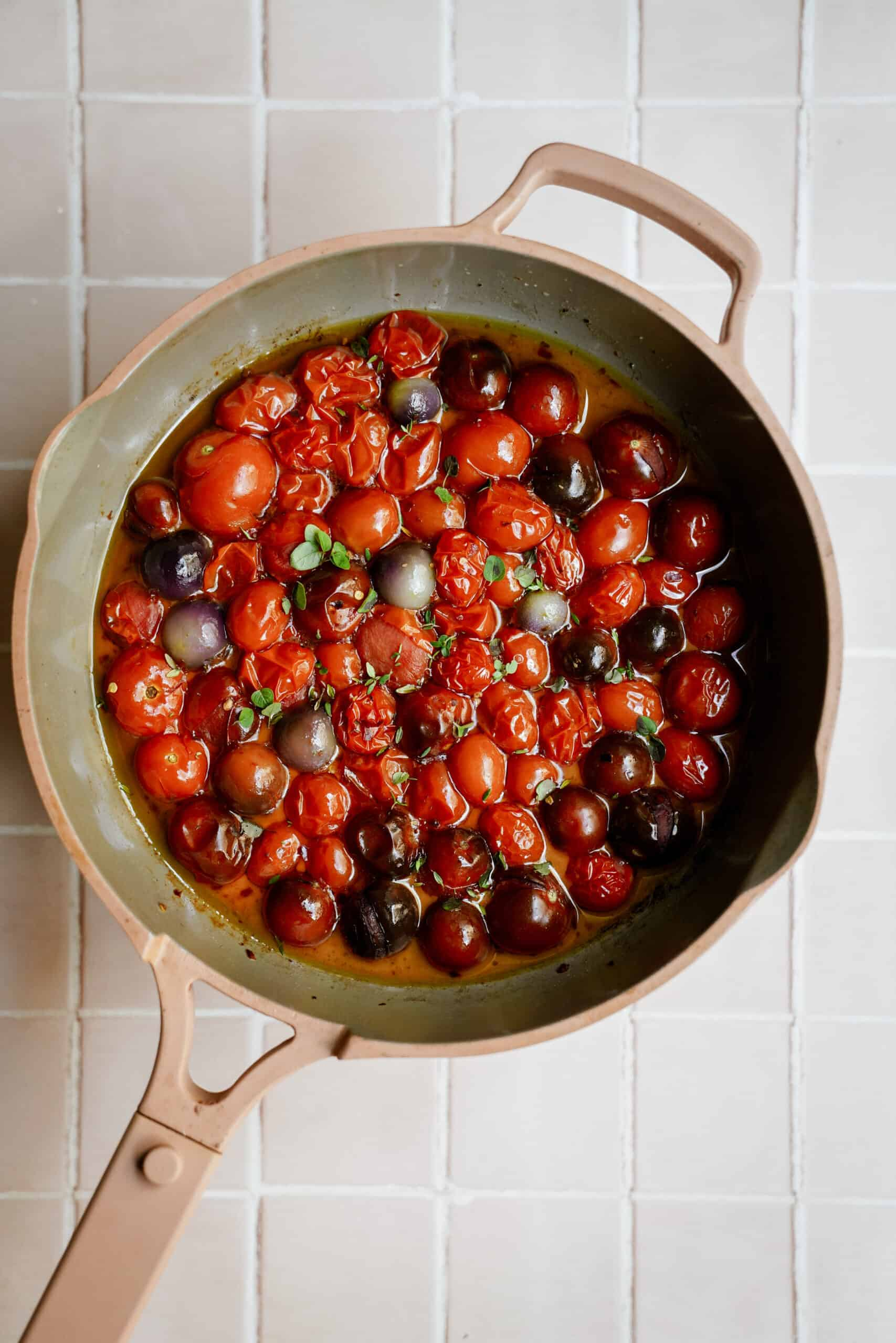 Roasted tomatoes in a pot