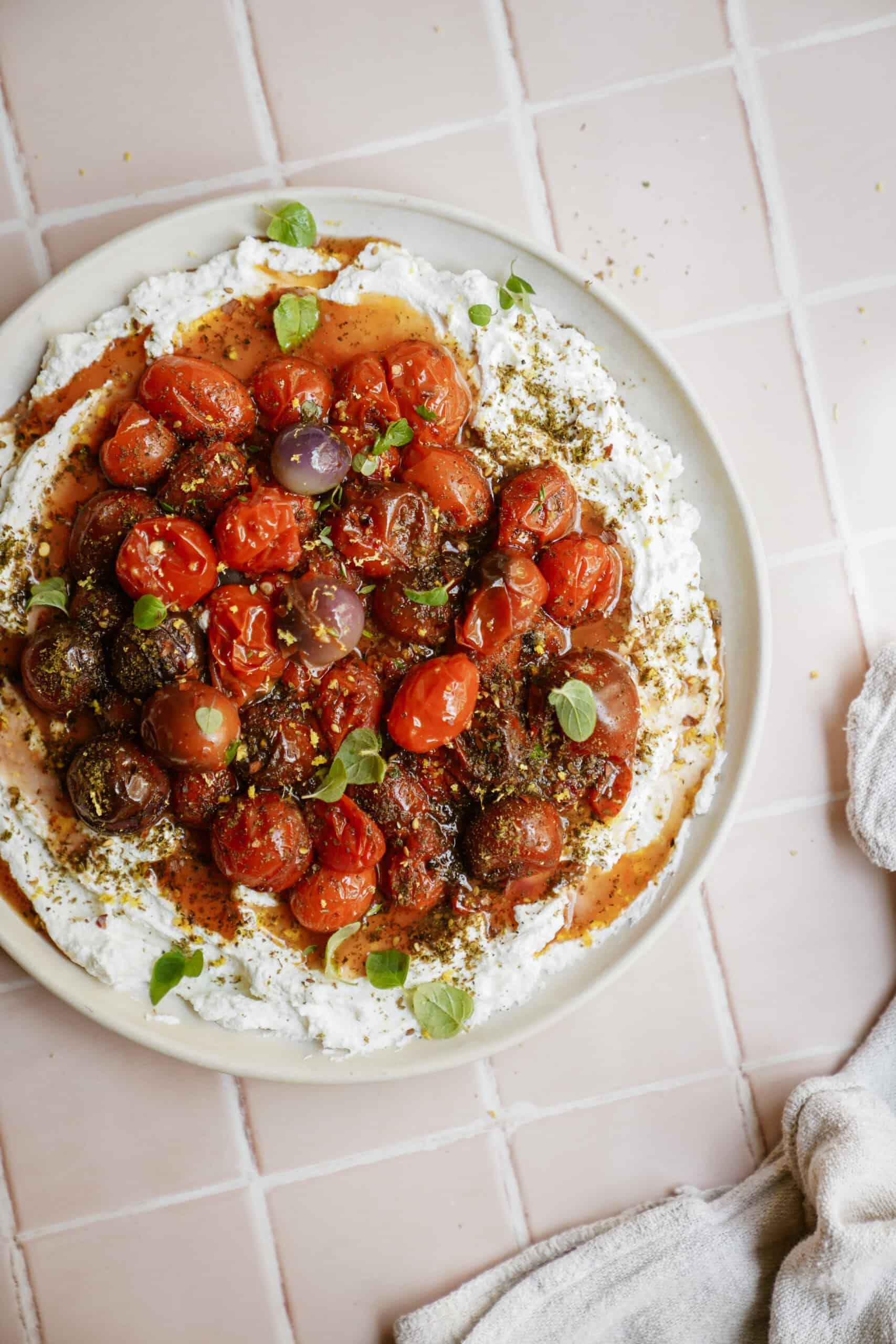 How to make labneh - a beautiful plate of labneh on a white counter