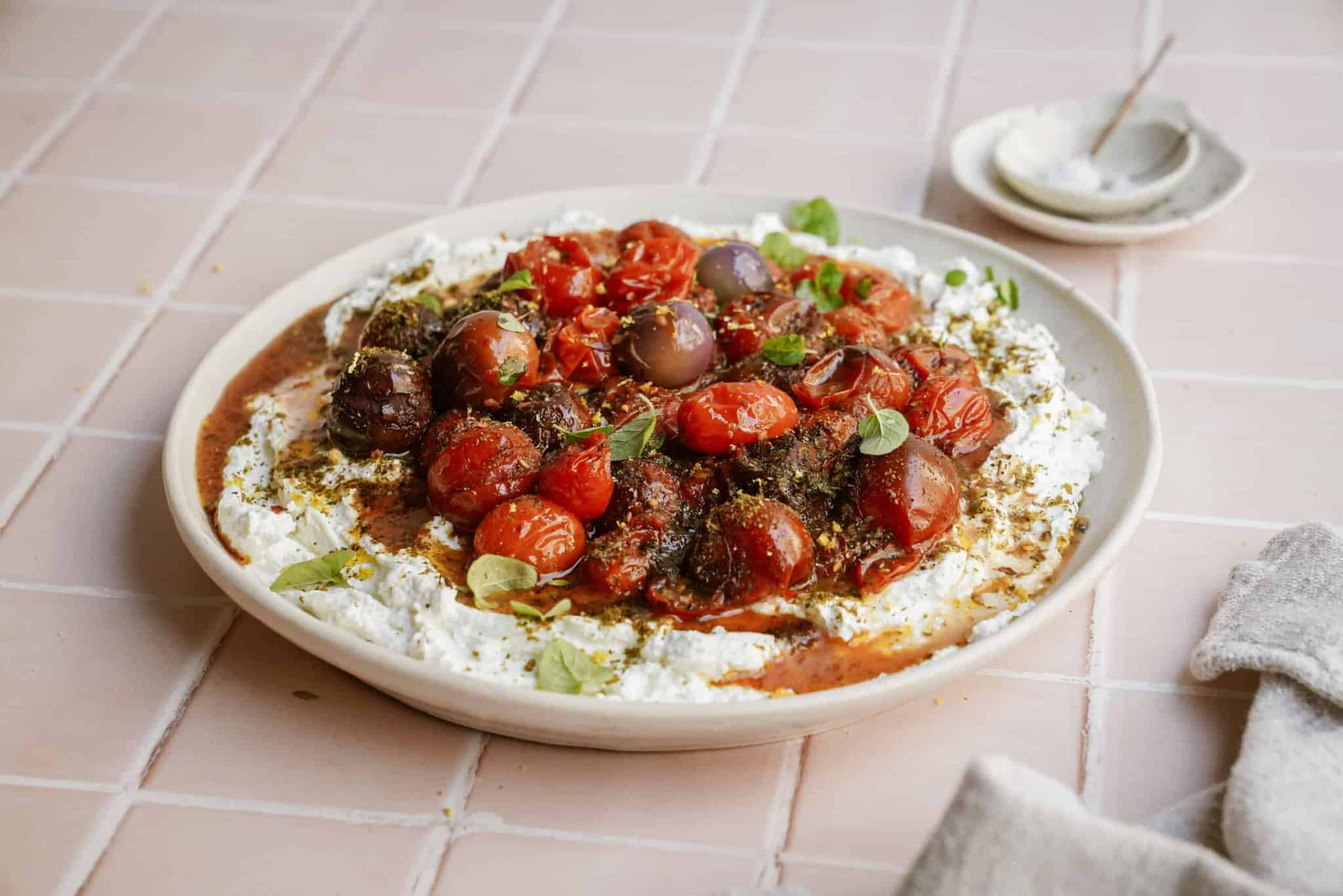 How to Make Labneh - a dish of labneh on a counter