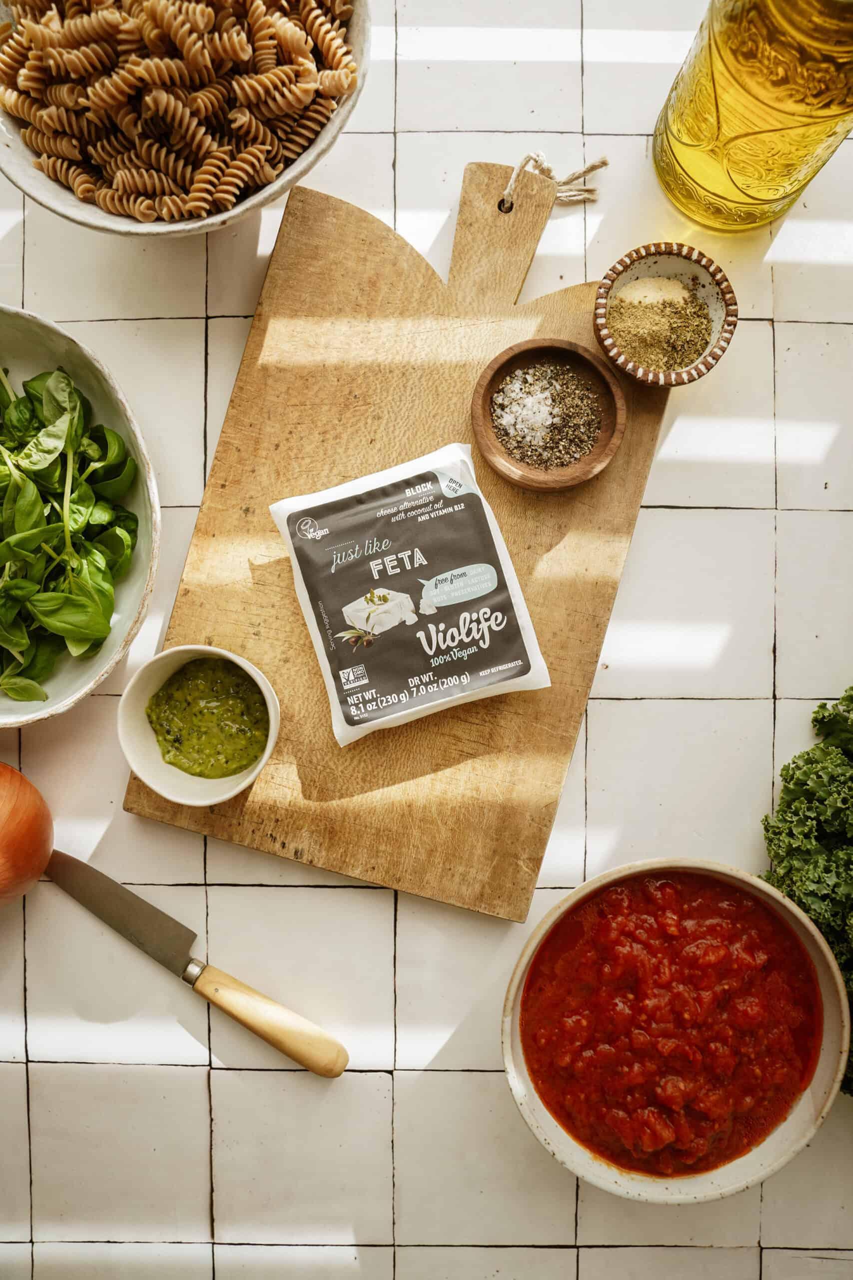 Ingredients for pesto pasta bake