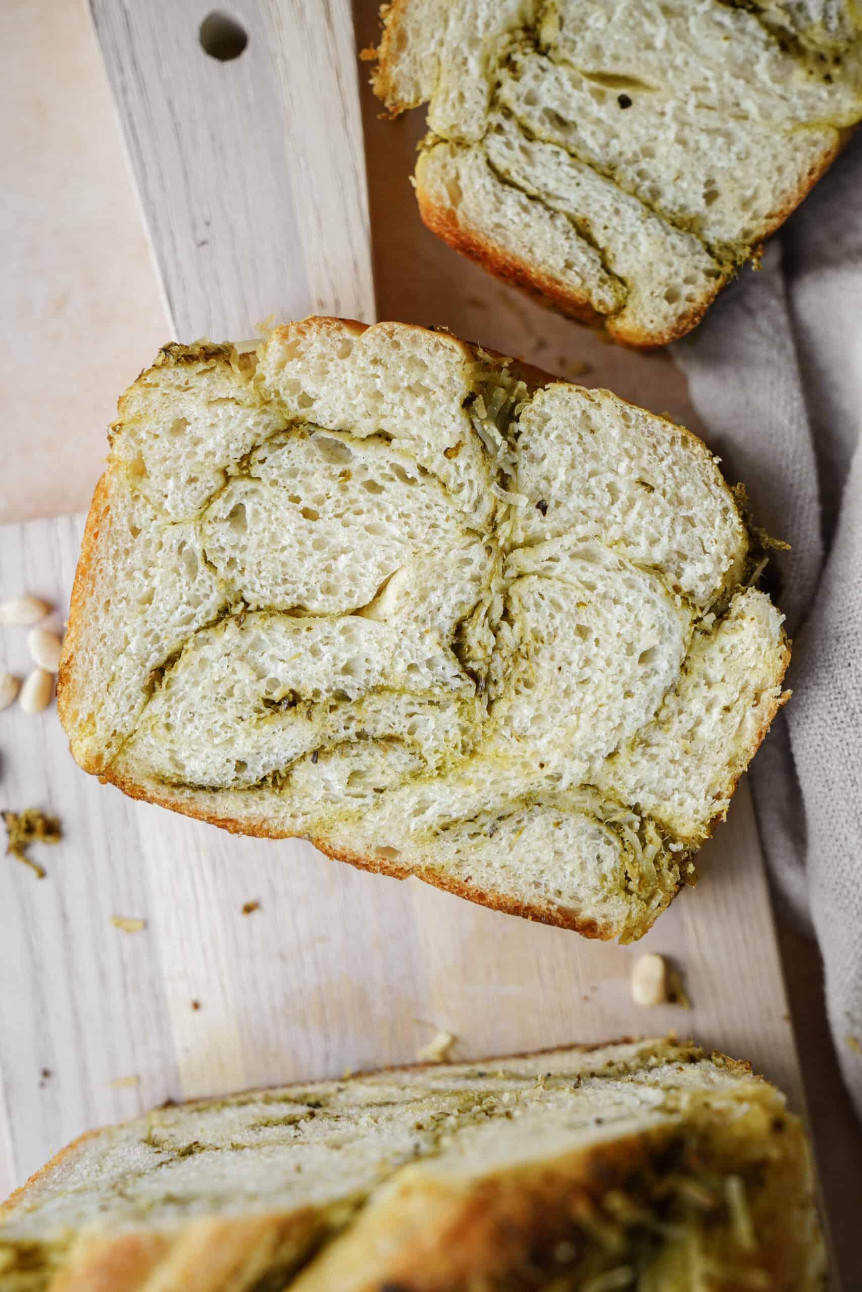 Twist Bread on a cutting board